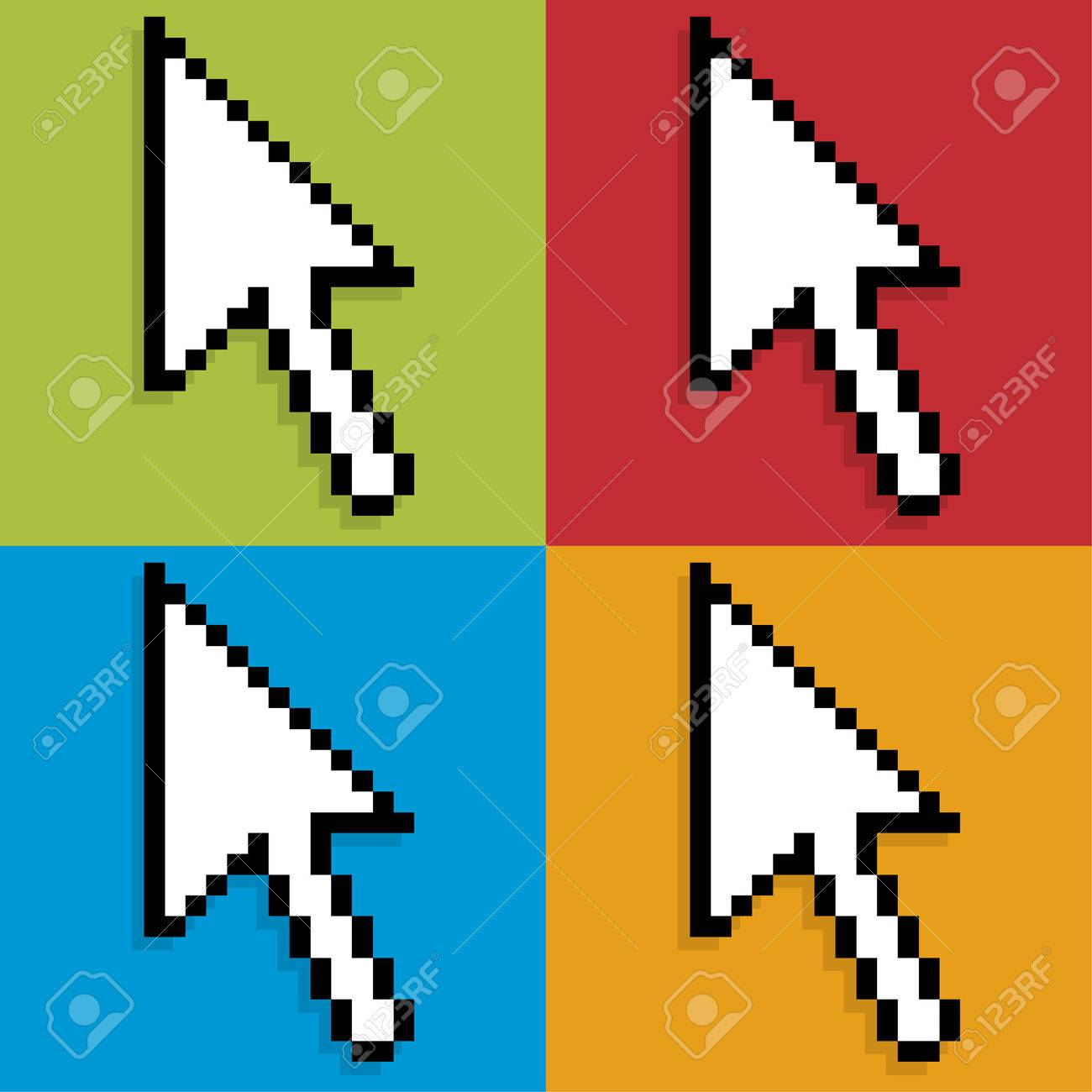 Large computer mouse pointers over colorful backgrounds Stock Vector - 7747948