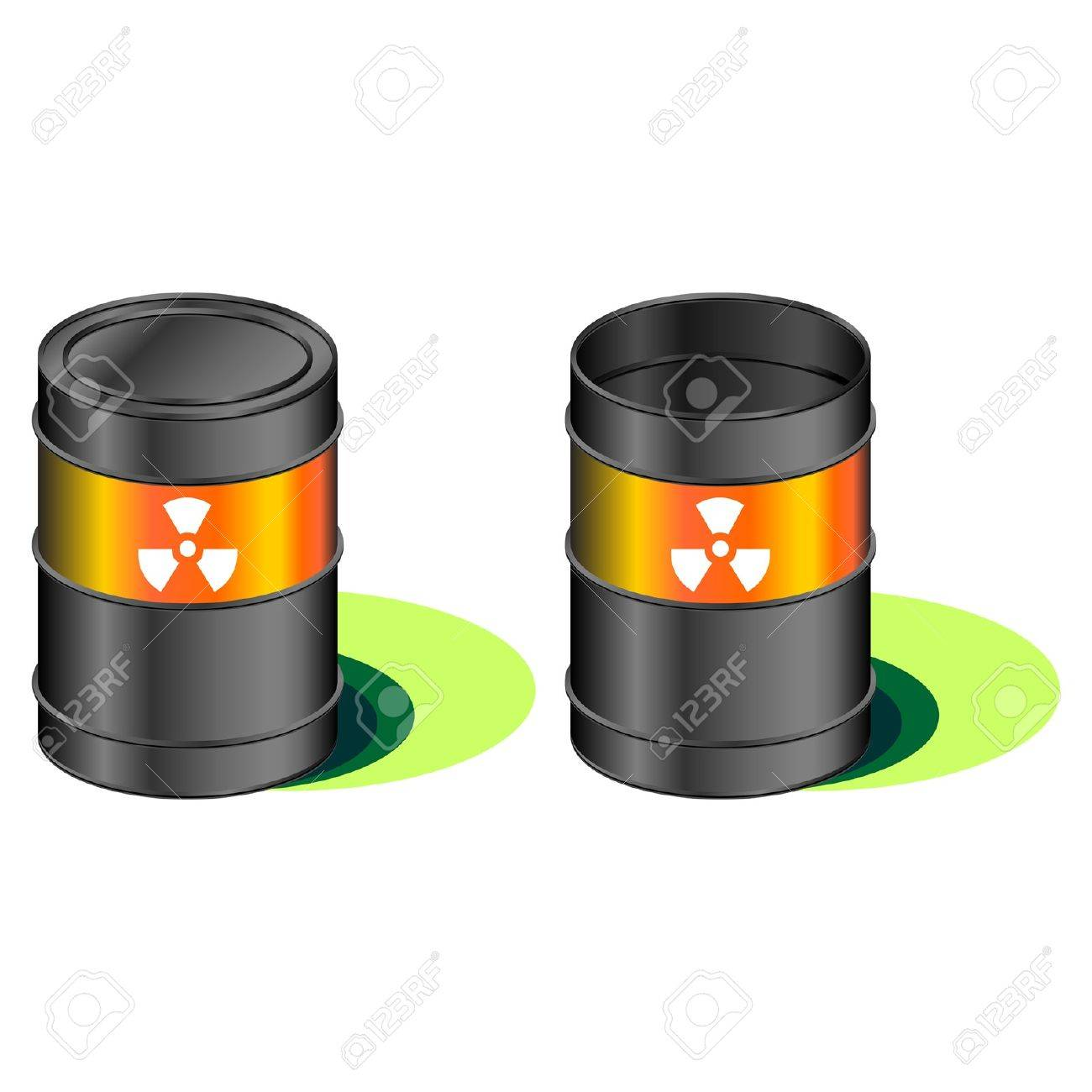 Open and closed barrels with radioactivity waste symbol Stock Vector - 9630406