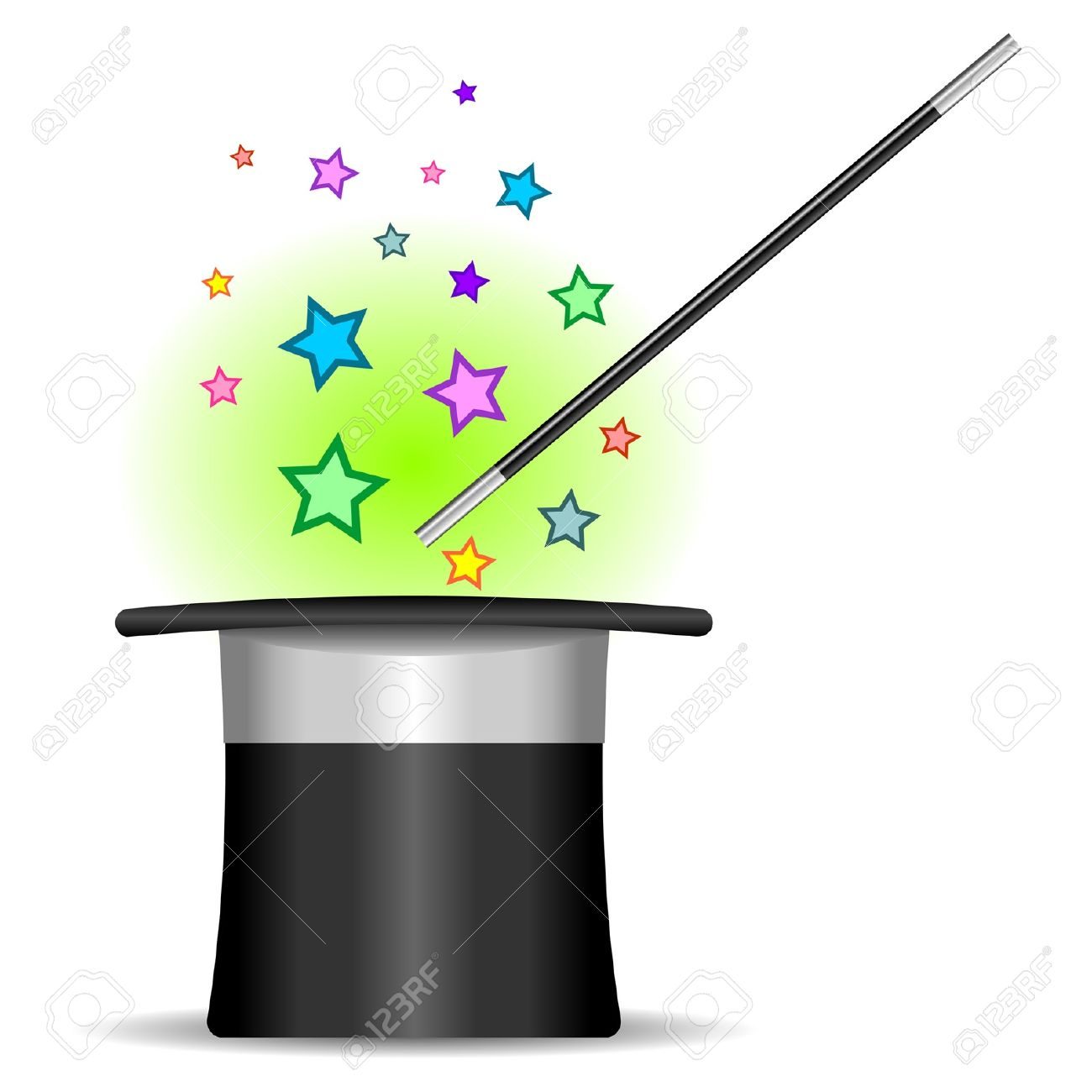 Magician top hat, wand and stars over white Stock Vector - 10011622