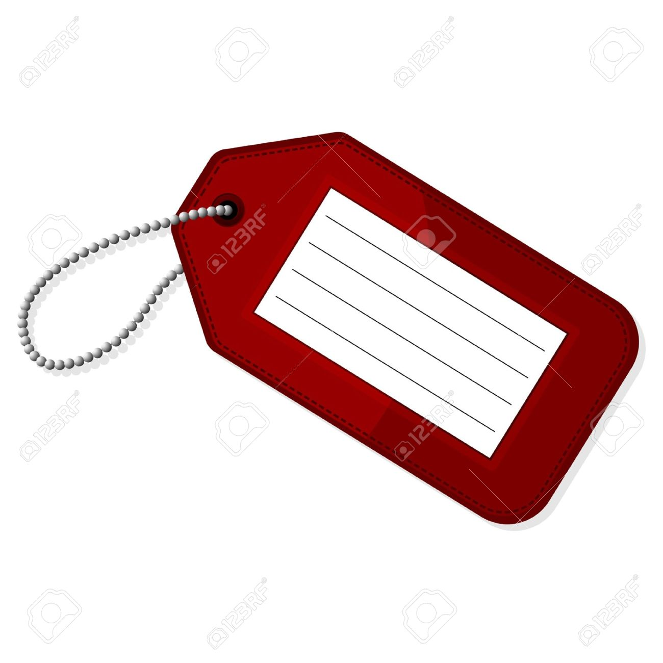 Red Luggage Tag With Copy Space Over White Background Stock Vector