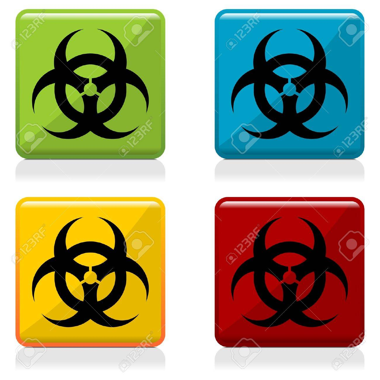 Biohazard sign buttons with four different colors Stock Vector - 13191520
