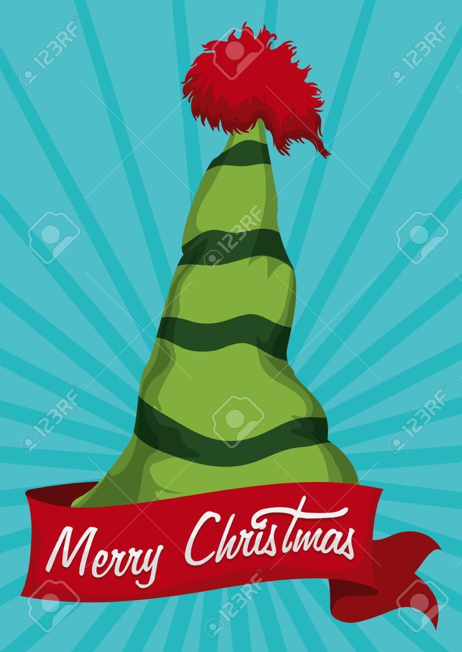 Realistische Grüne Elf Hut Getrennt Mit Merry Christmas Nachricht In ...