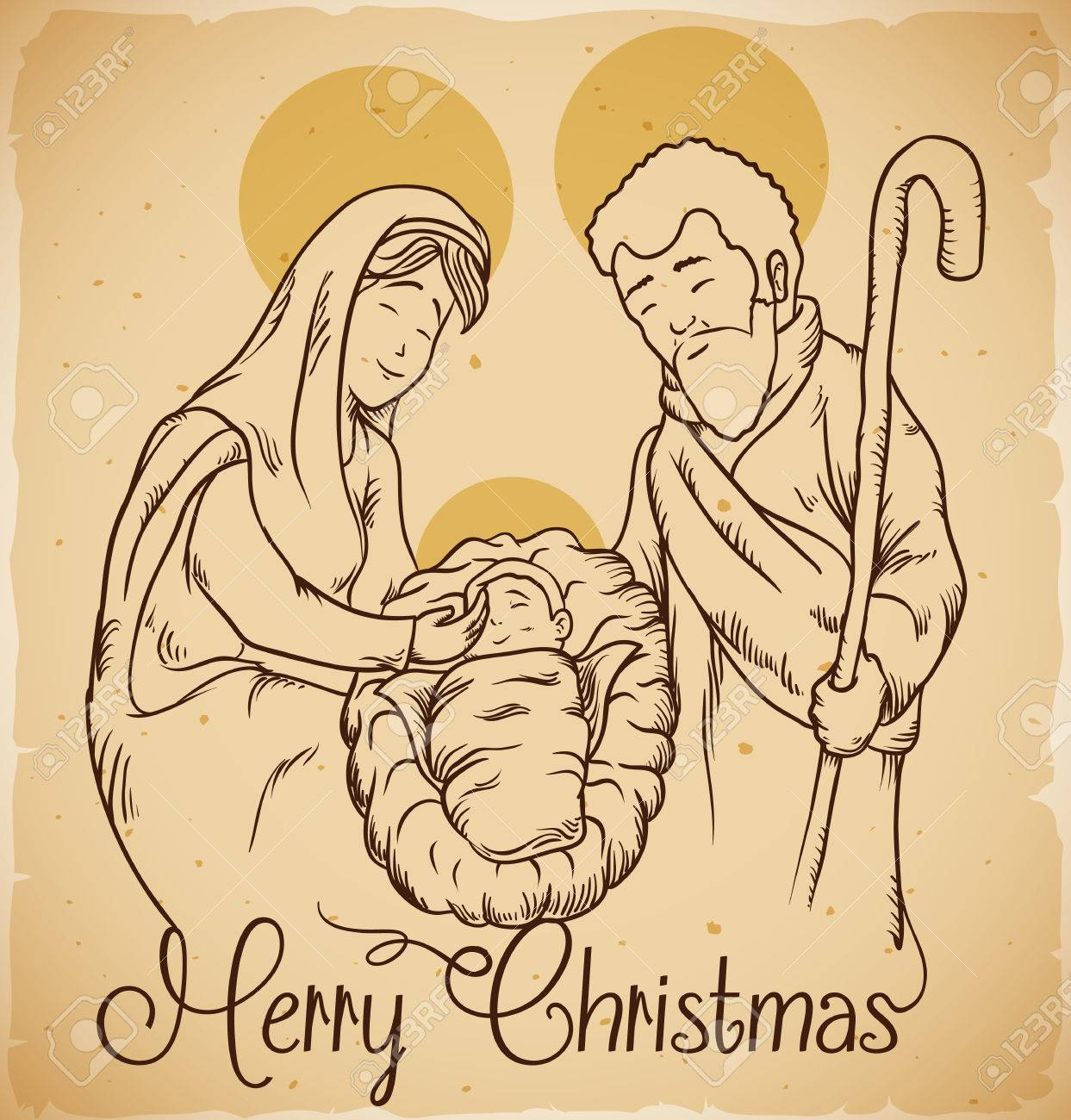 Christmas Jesus Birth Drawing.Nativity Scene With The New Born Jesus Christ And Mary And Joseph