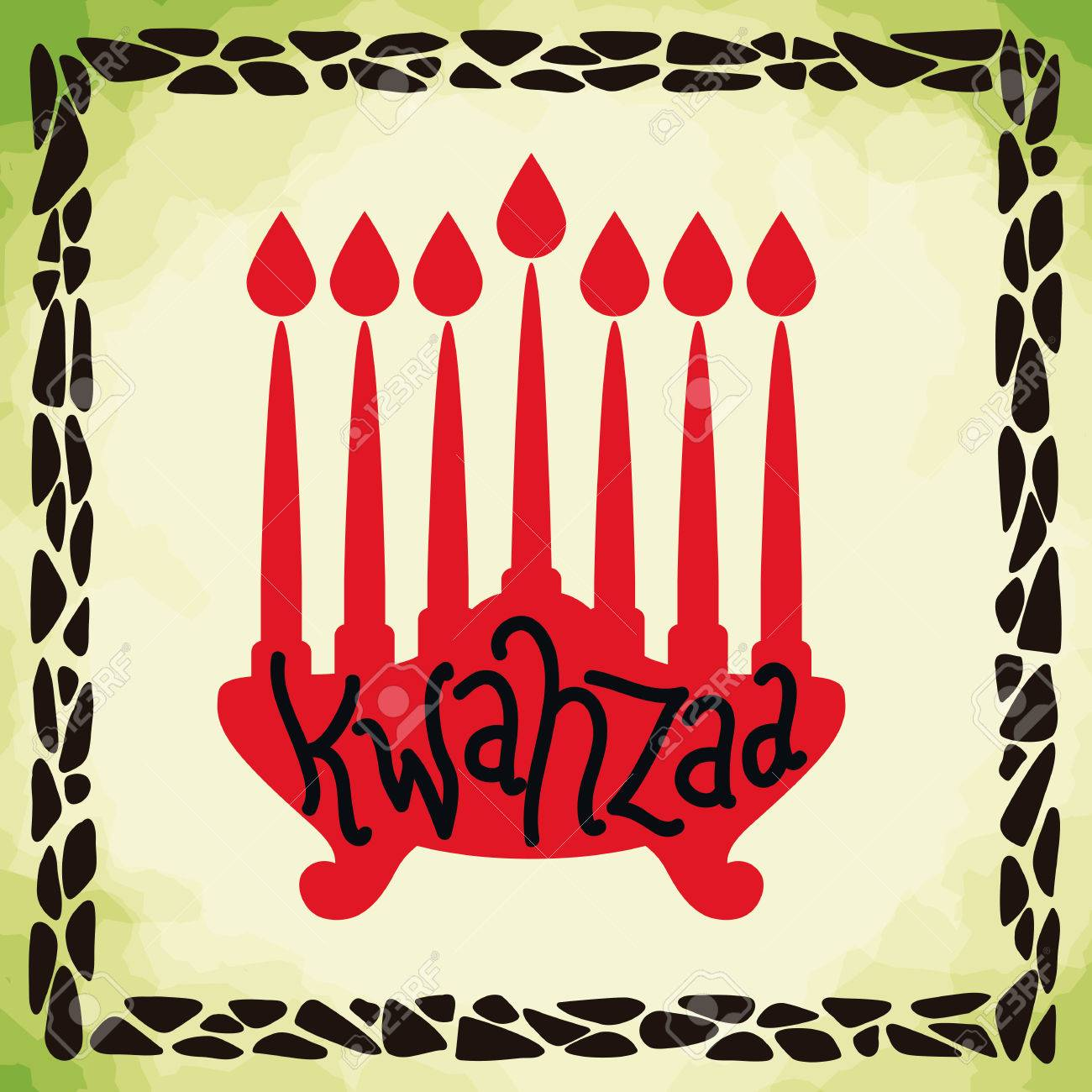 Kwanzaa greeting message in painting with green background and kwanzaa greeting message in painting with green background and frame stock vector 50019333 m4hsunfo
