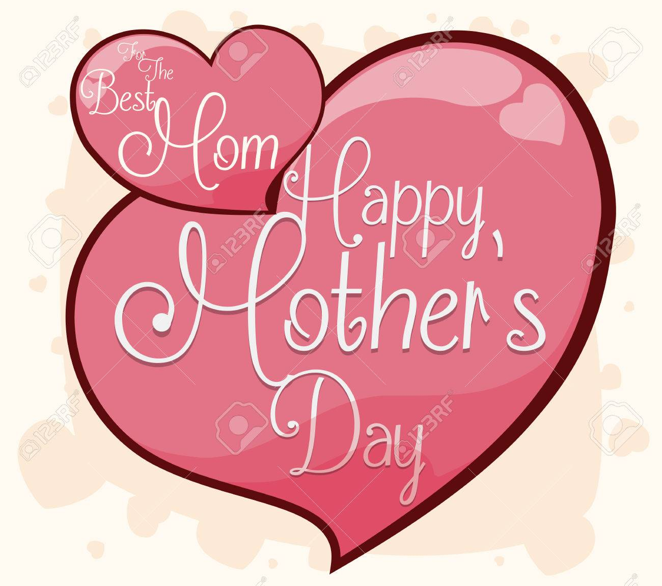Diseño De Corazones Bonitos Con Mensajes De Saludo Para Celebrar El Día De La Madre