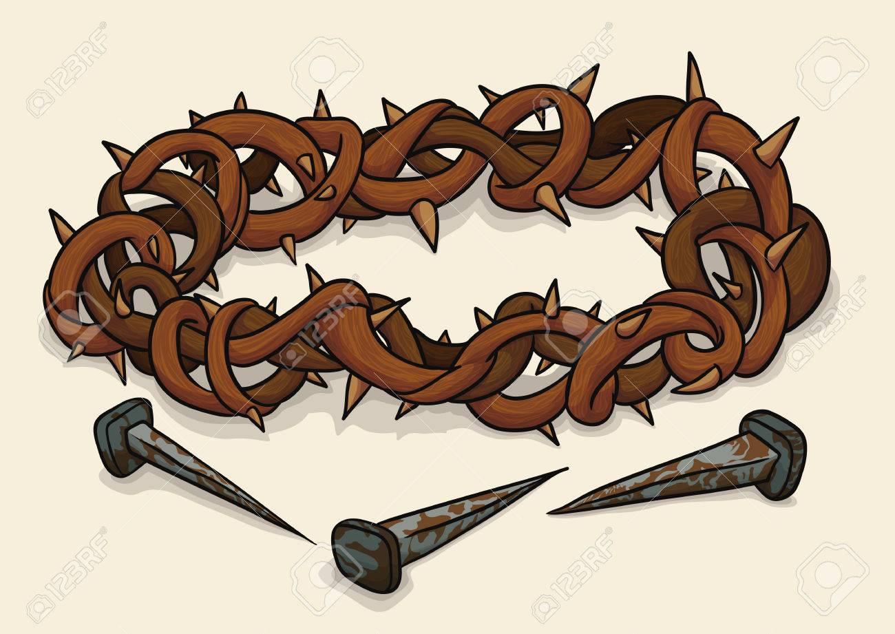 Corona De Espinas Y Los Tres Clavos Oxidados Símbolos De La