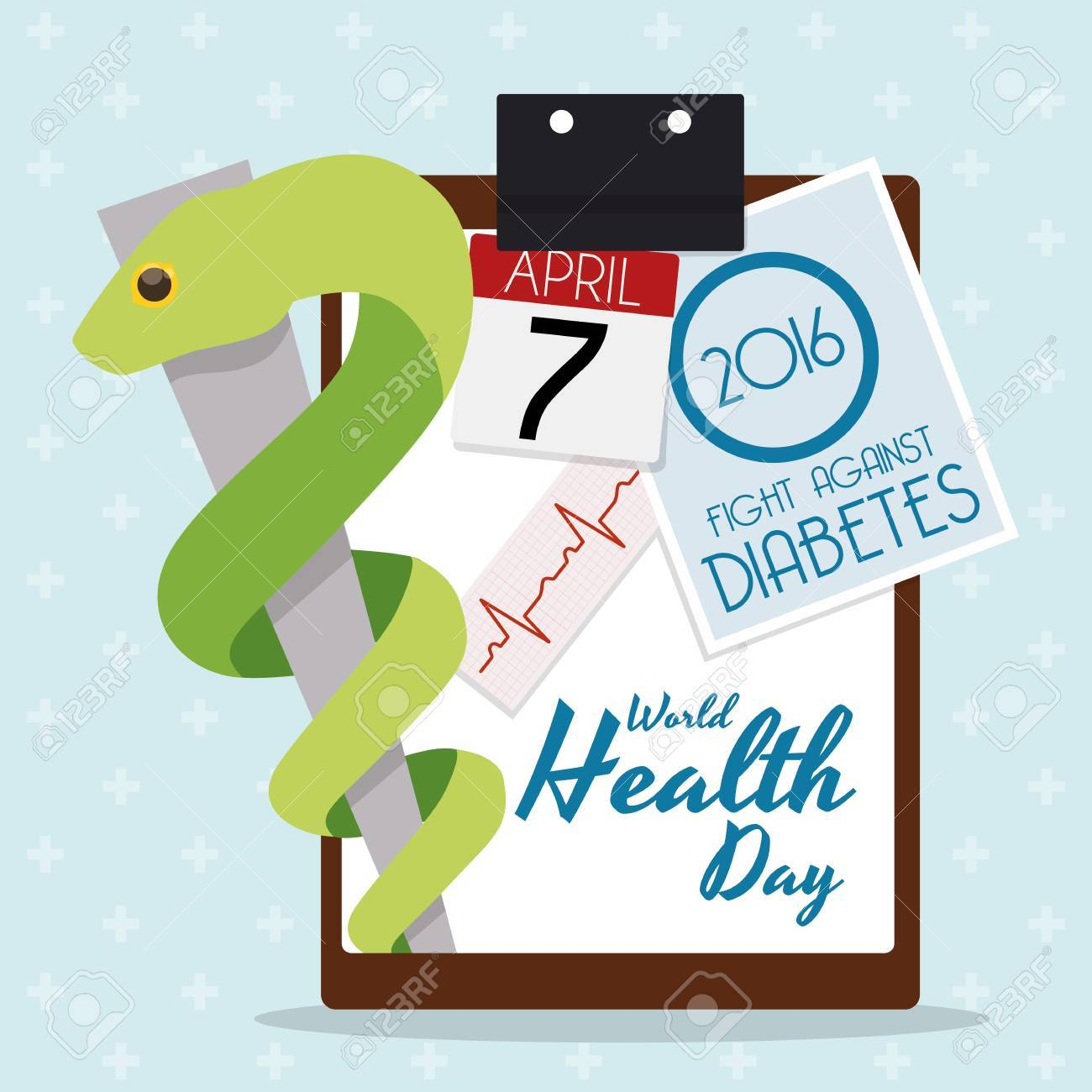 Commemorative Design For World Health Day 2016 Fight Against Diabetes And A Rod Of Asclepius