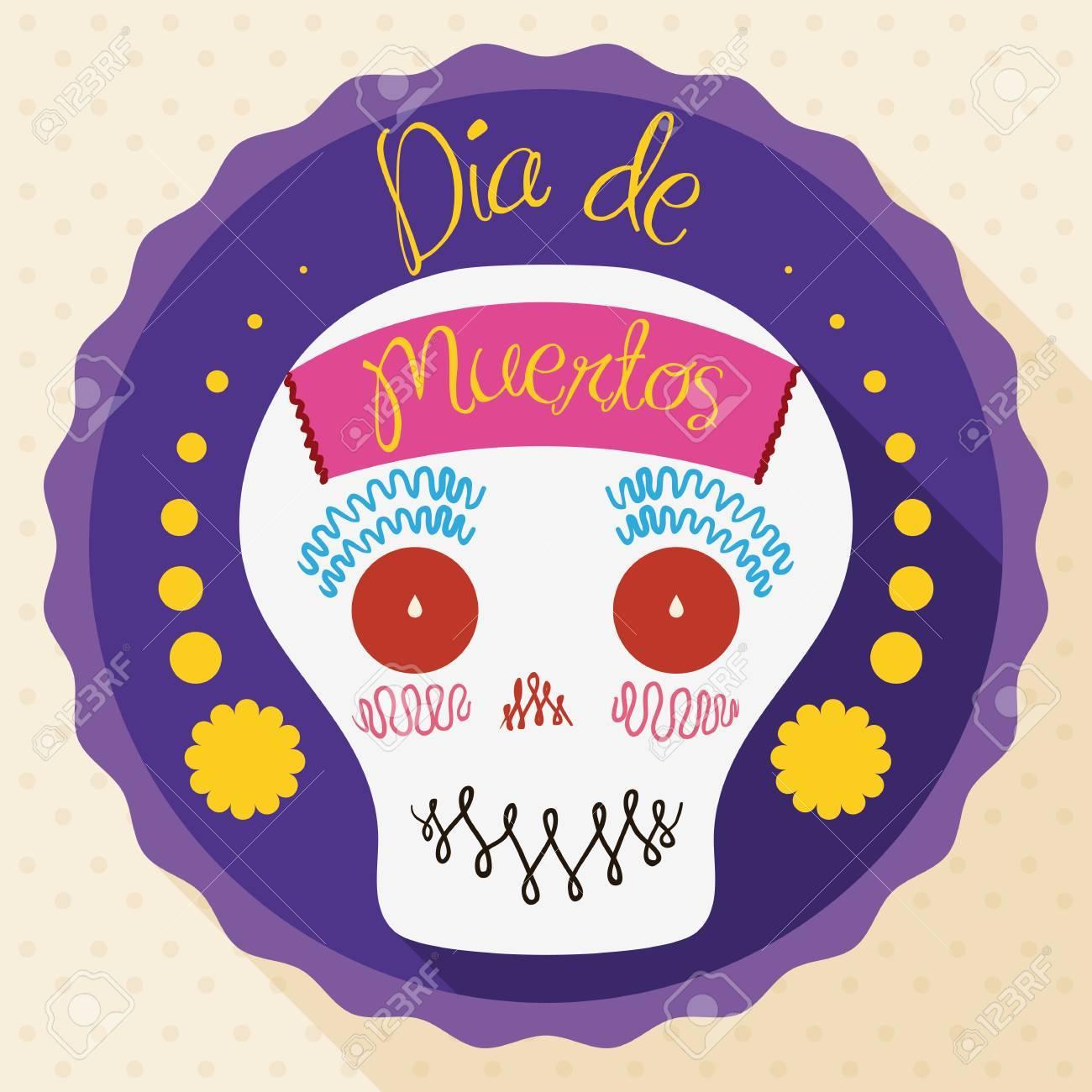 Calavera De Azúcar Linda Y Sonriente Decorada Con Un Papel En La Parte Delantera Dentro De Una Etiqueta De Saludo Para El Día De Muertos En Estilo