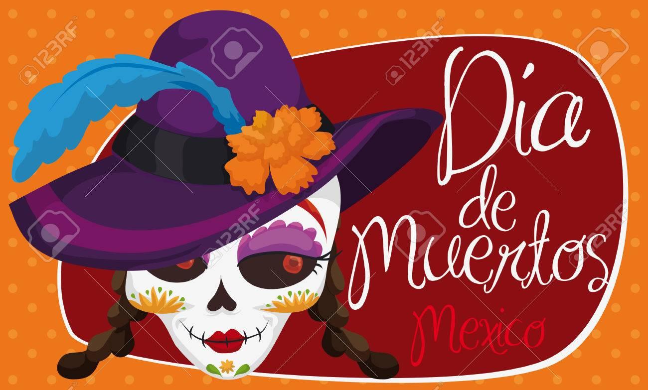 Banner con elegante catrina con un sombrero de fantasía con caléndula y  pluma para el mexicano facb6706e9d