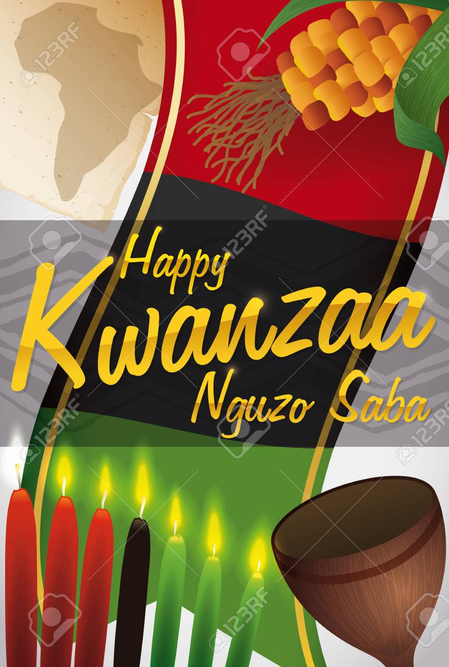 Label With Some Traditional Symbols For Kwanzaa Celebration