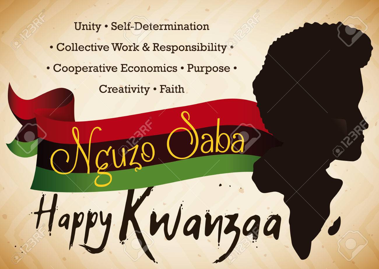 Poster With Man And Africa Silhouette Traditional Flag And The