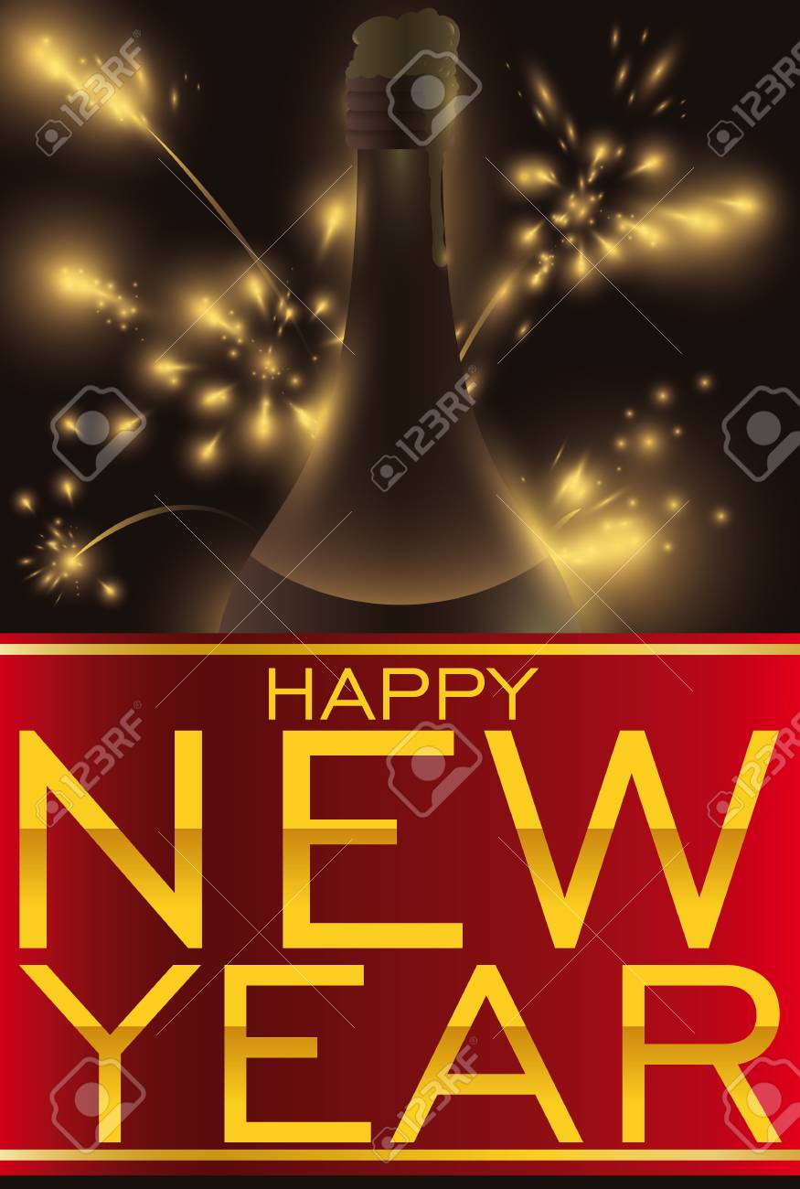 poster with fireworks display red ribbon with golden greetings