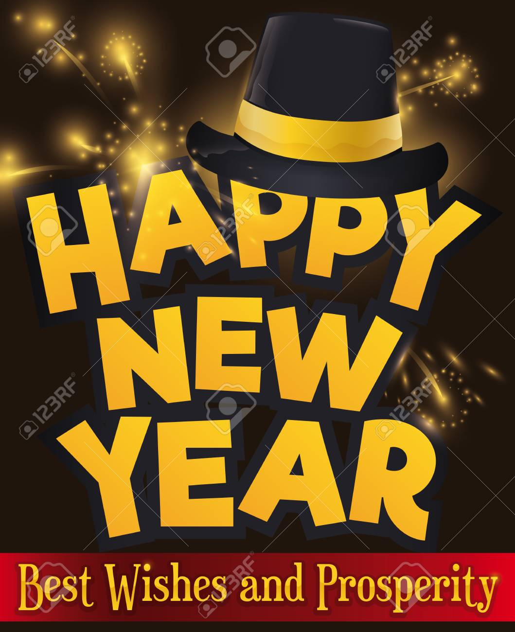 poster with greetings and a black hat over fireworks display