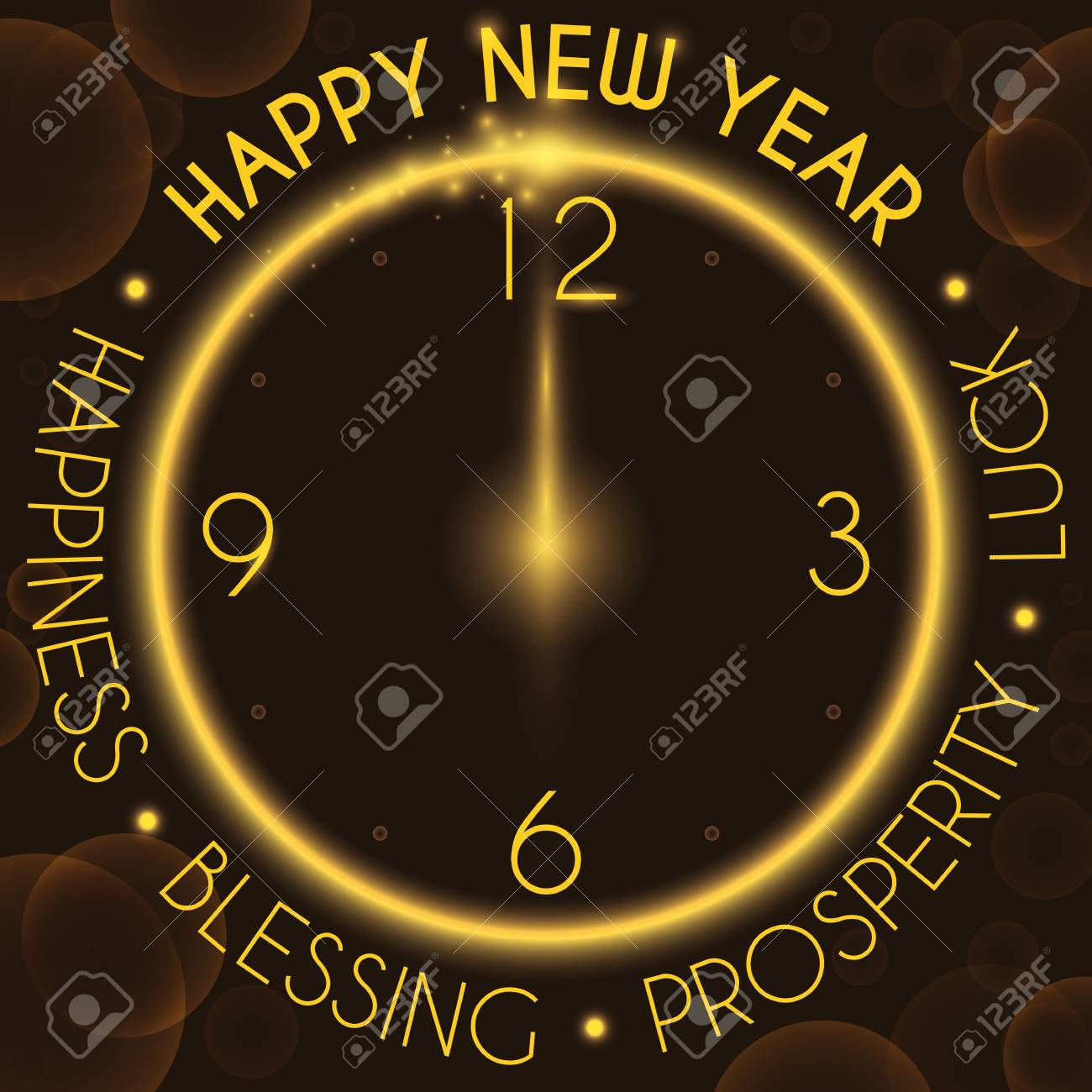 Poster With Glowing Circle Like A Clock With Greeting Message