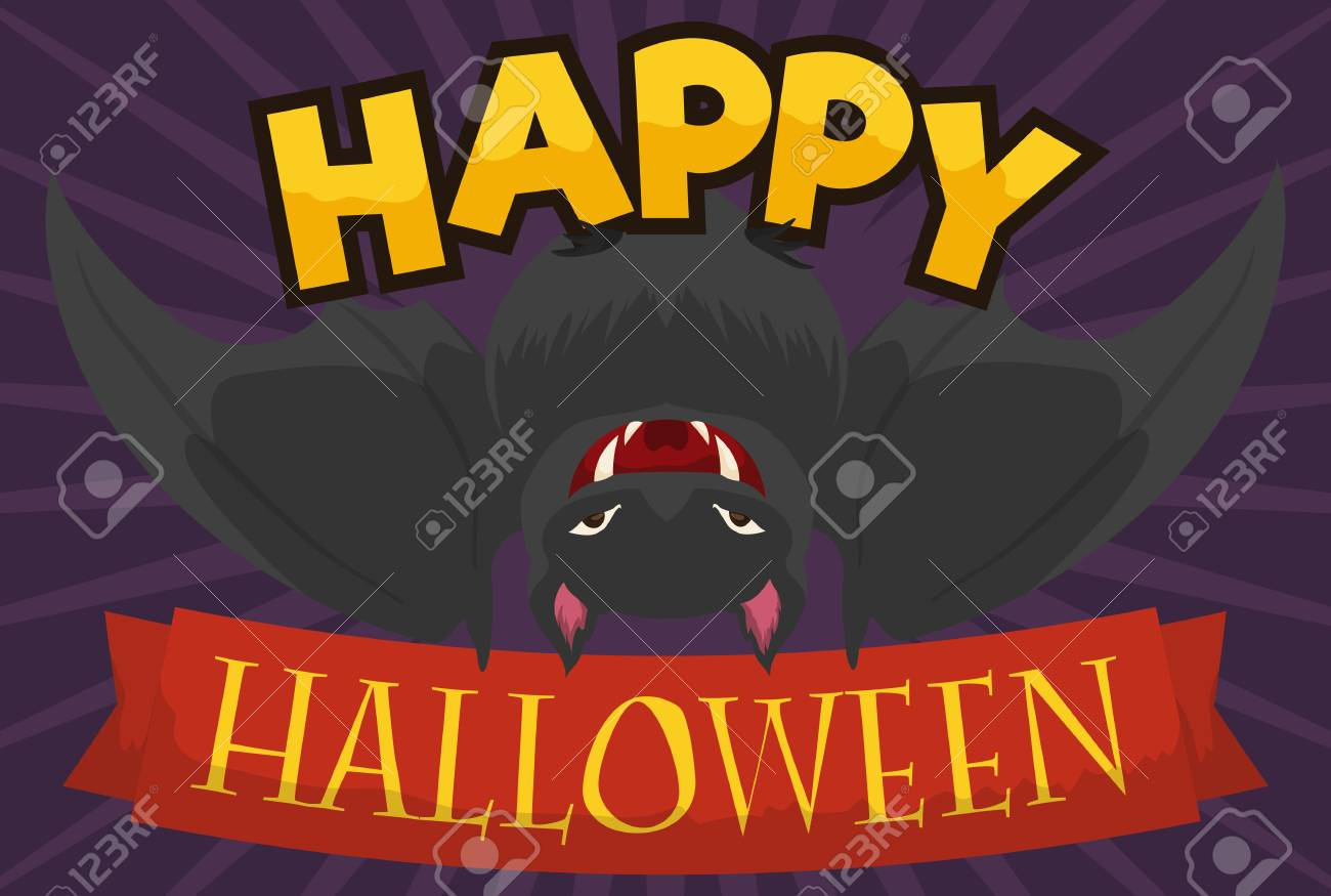 Poster with hanged black bat and greeting message in ribbon for poster with hanged black bat and greeting message in ribbon for a happy halloween stock m4hsunfo