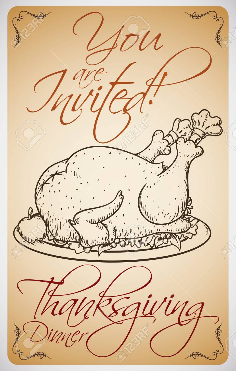 Invitation Card For Thanksgiving Dinner With A Delicious Dish