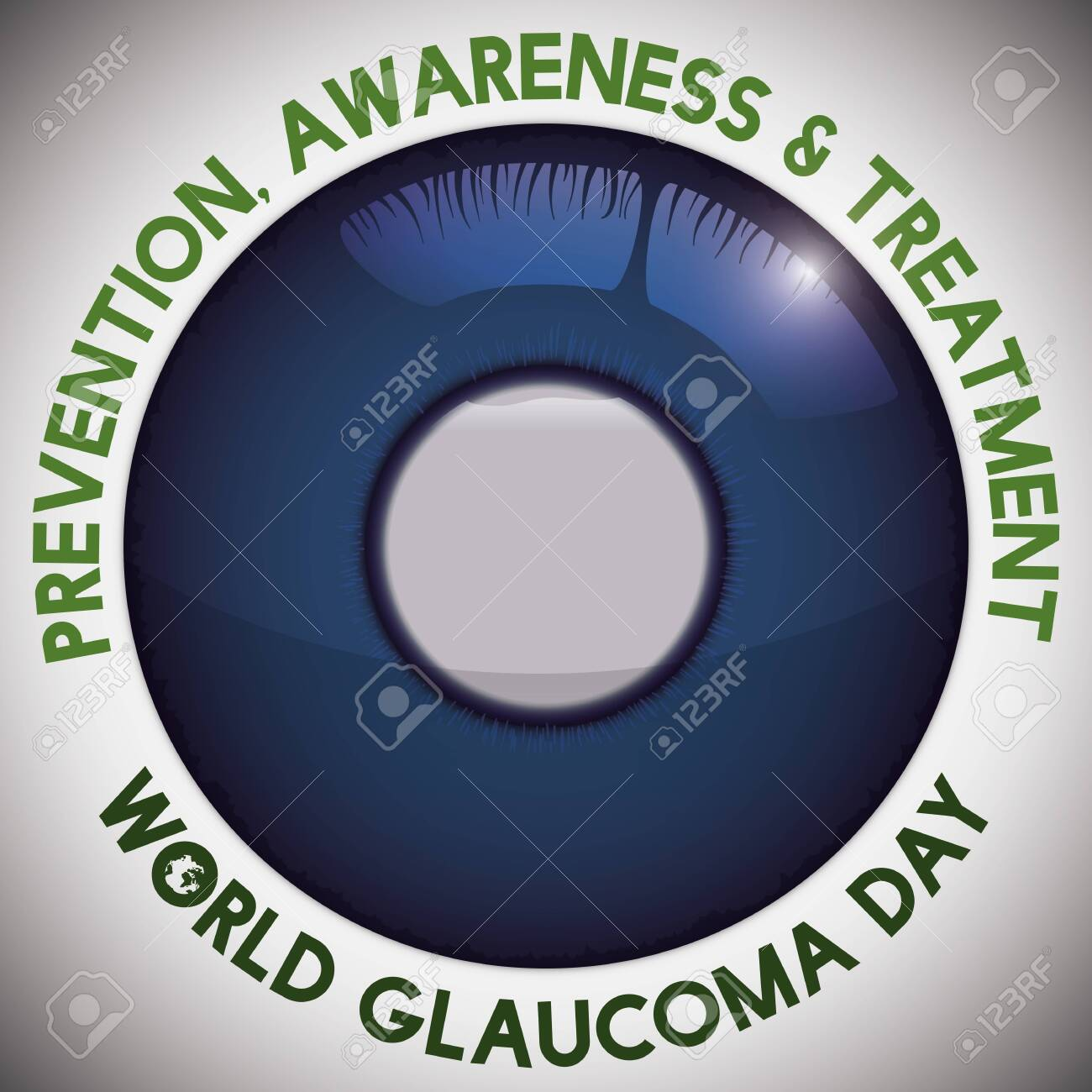 Poster for World Glaucoma Day with advices for prevention and treatment and an eye iris with cloudy effect in the pupil: a sign of this ocular disease and blindness. - 150245551