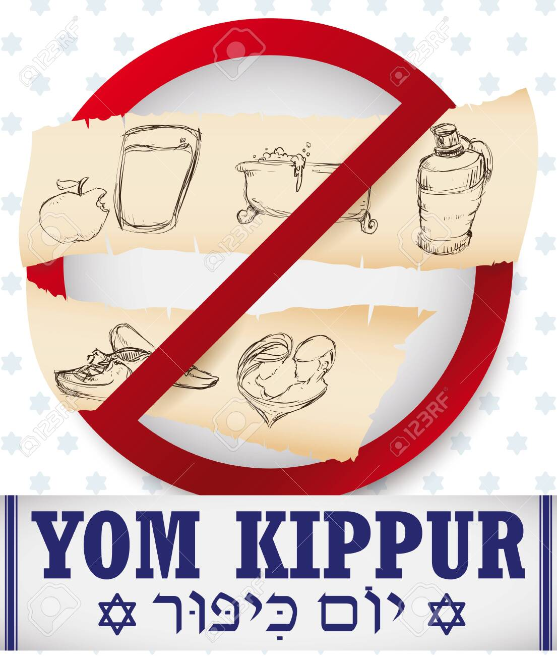 Signal With Prohibitions On Yom Kippur Written In Hebrew Over Royalty Free Cliparts Vectors And Stock Illustration Image 151191157