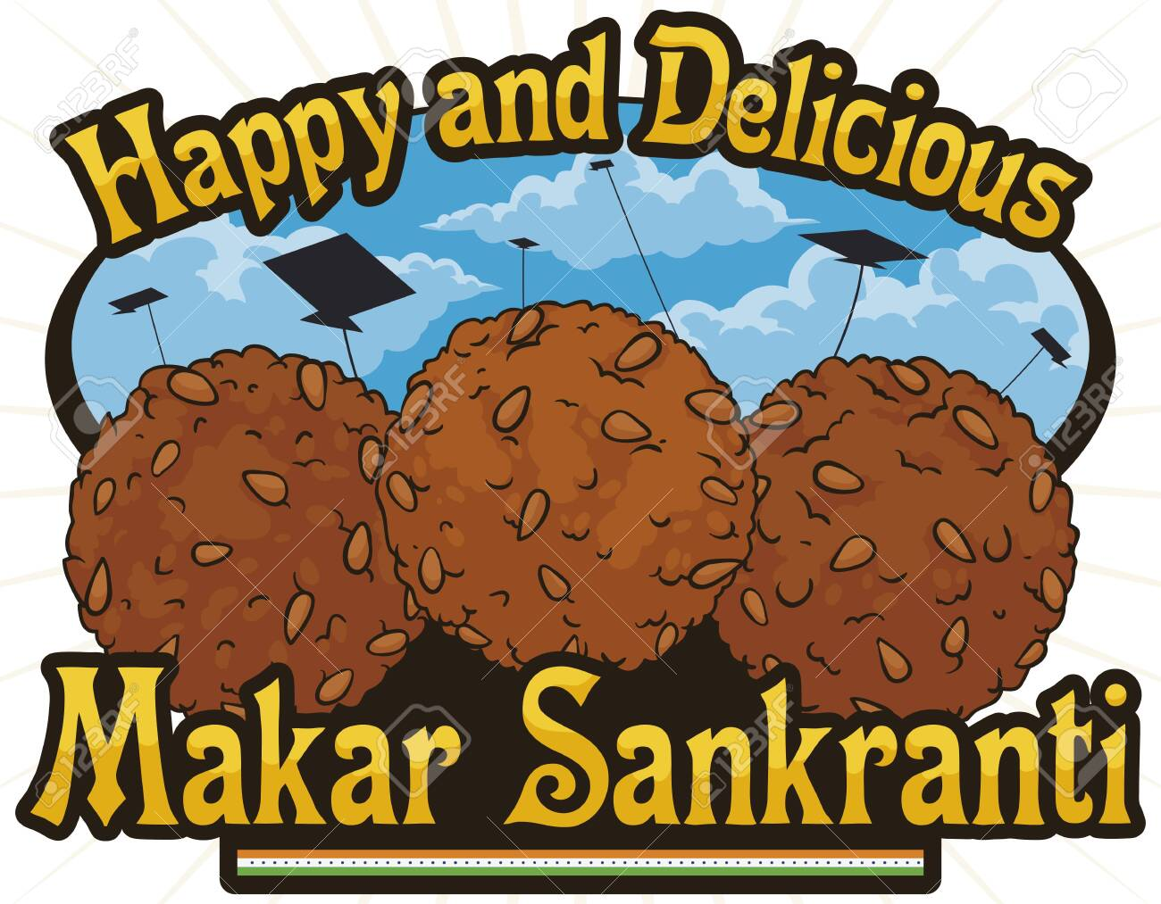 Delicious til laddus (or laddoo: a spherical dessert covered with sesame seeds) and a beautiful view of a sky with kites silhouettes during Makar Sankranti celebration in India. - 154332096