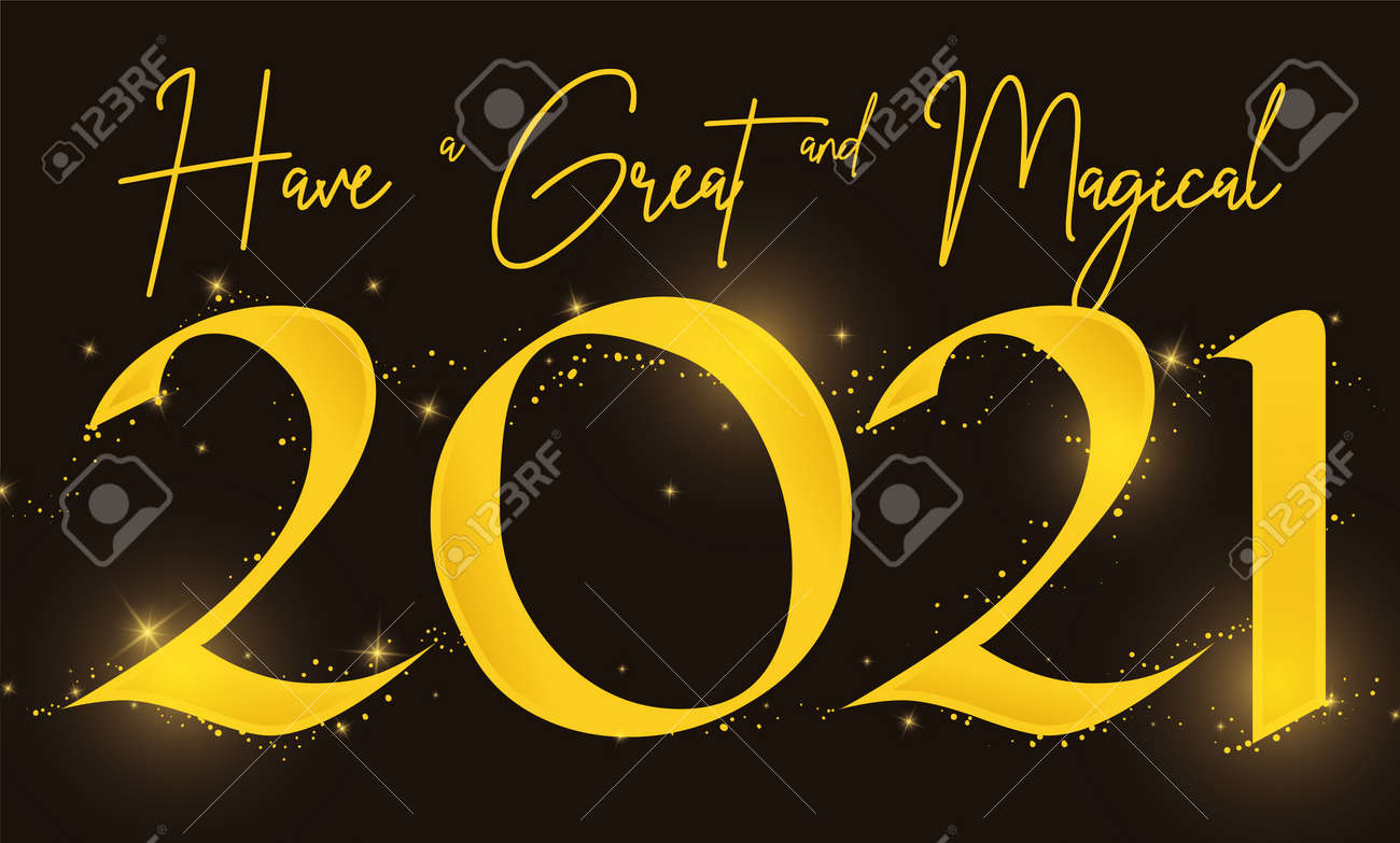 Design with greeting message promoting a magical and great 2021 New Year celebration, with golden sign, glows and sparkles. - 161271736