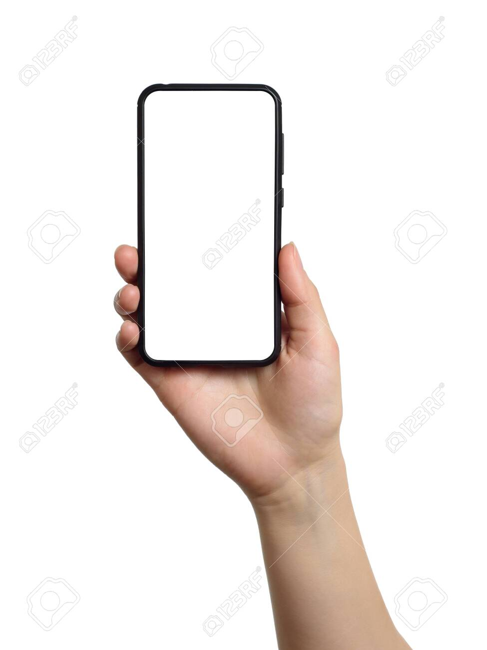 Woman hand holds smartphone with white screen. Isolated object on white background - 150084166