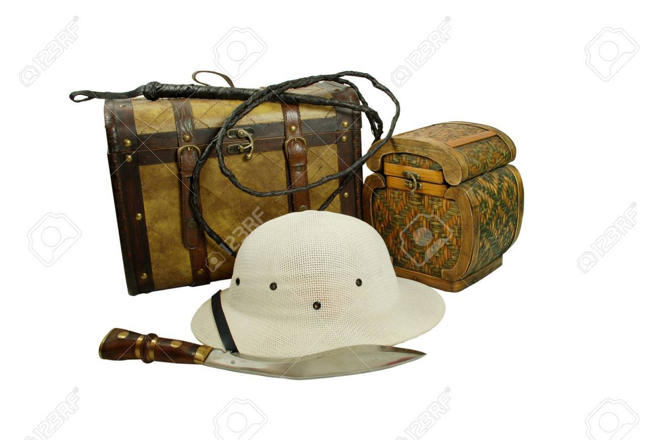 A pair of old cases for storing items, Pith helmet worn during explorations to protect the head from sun stroke, Large hunting knife made of metal and wood, Whip made of woven leather Stock Photo - 3954431