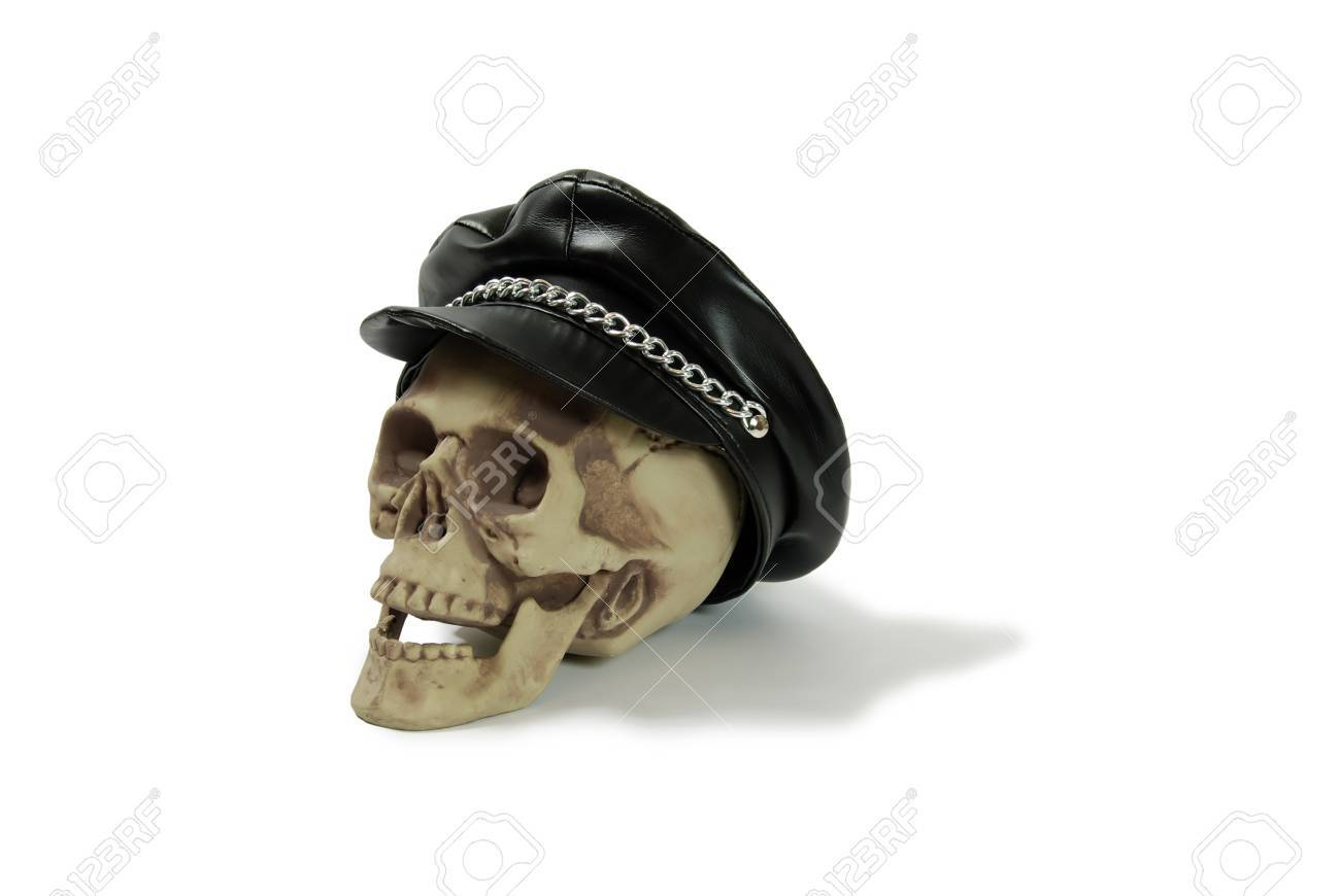 7fc59dae3f Leather biker cap with a chain across the bill, Skull with eye..