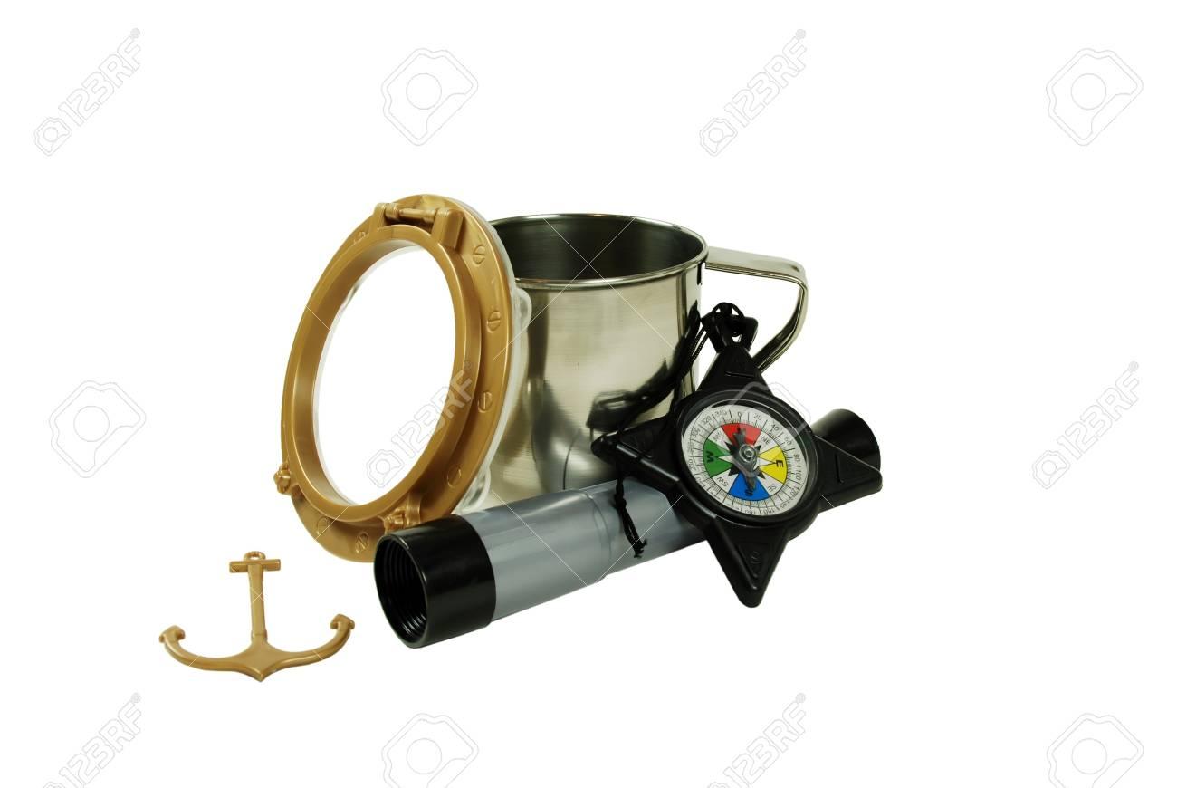 Nautik port hole und anker teleskop fernrohr benutzt um