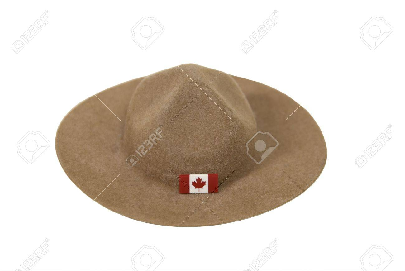 31ae258adf8 Canadian Mountie hat made of felt with the traditional folds on the top and  a flag