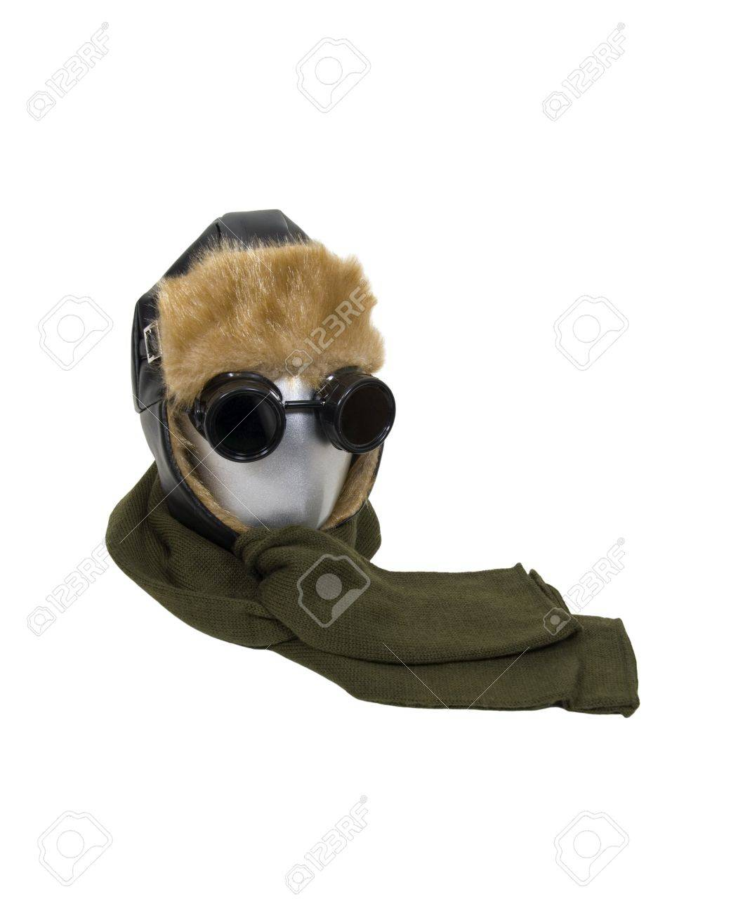 Cold weather aviator kit consisting of black leather fur lined aviator hat  with goggles and a b20f68d1f02