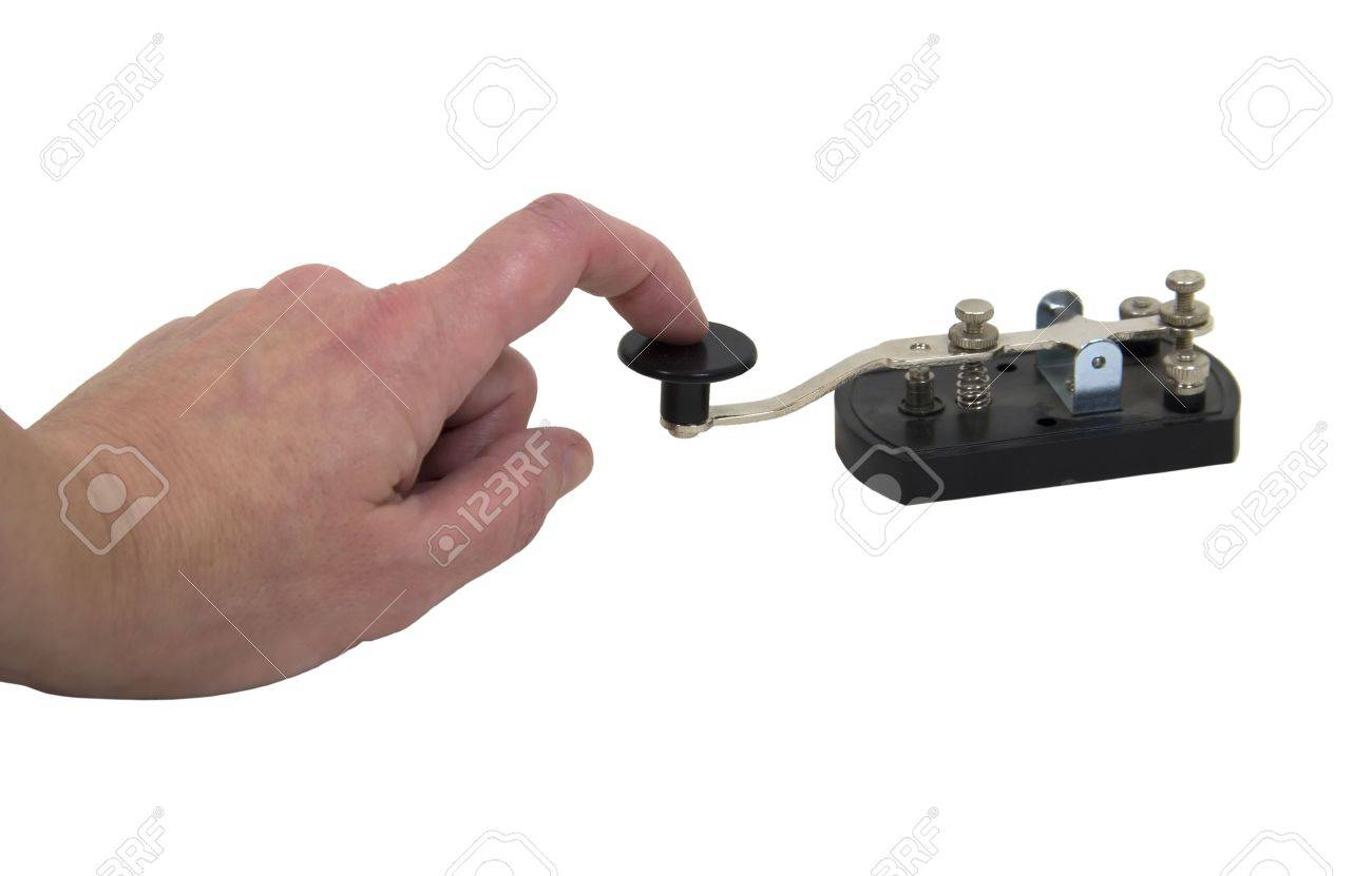 Using an antique telegraph key used as a retro communication device for Morse Code Stock Photo - 5471431