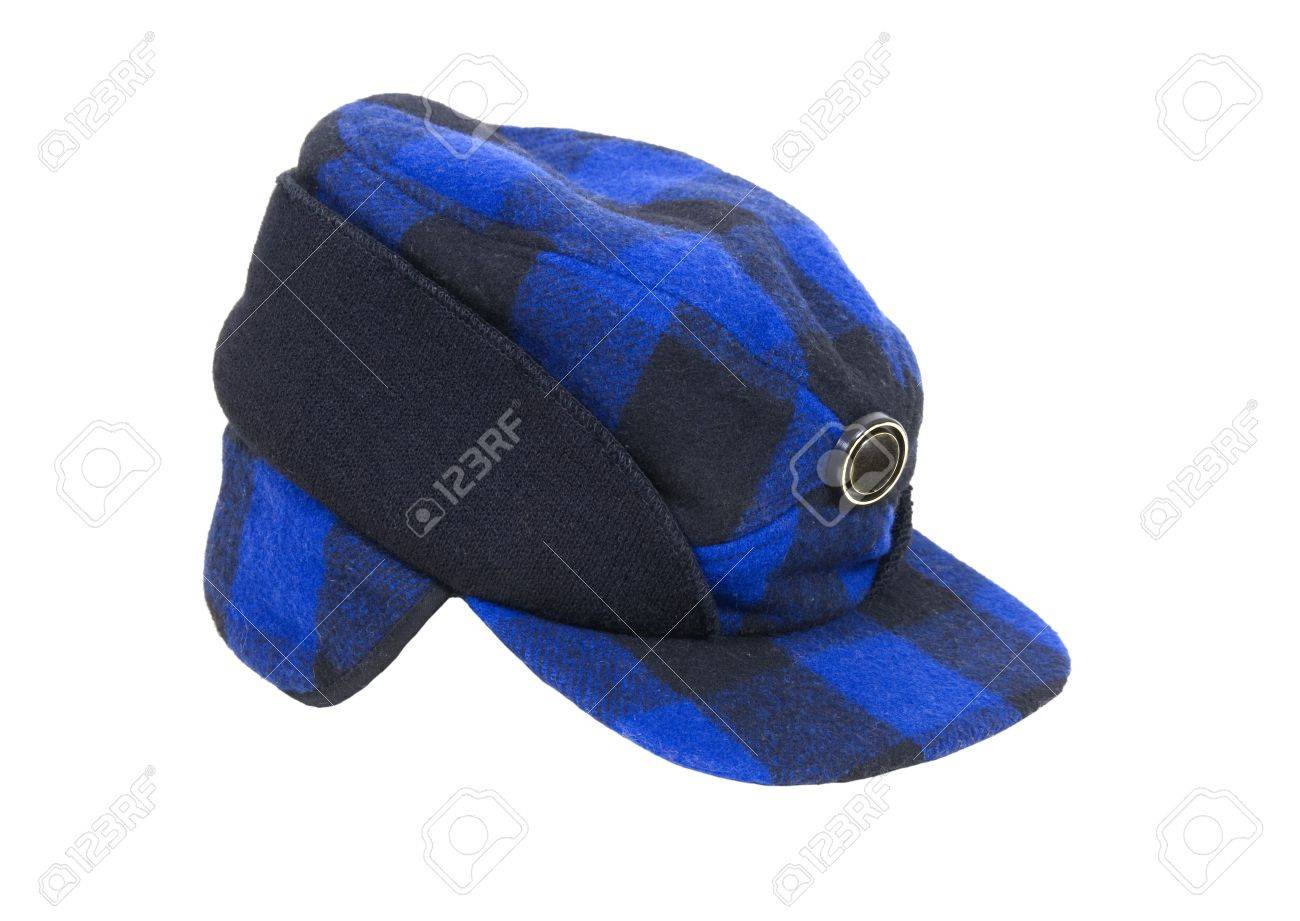 795eaca1f1 Blue and black plaid hunters cap with ear flaps for warmth Stock Photo -  6079647