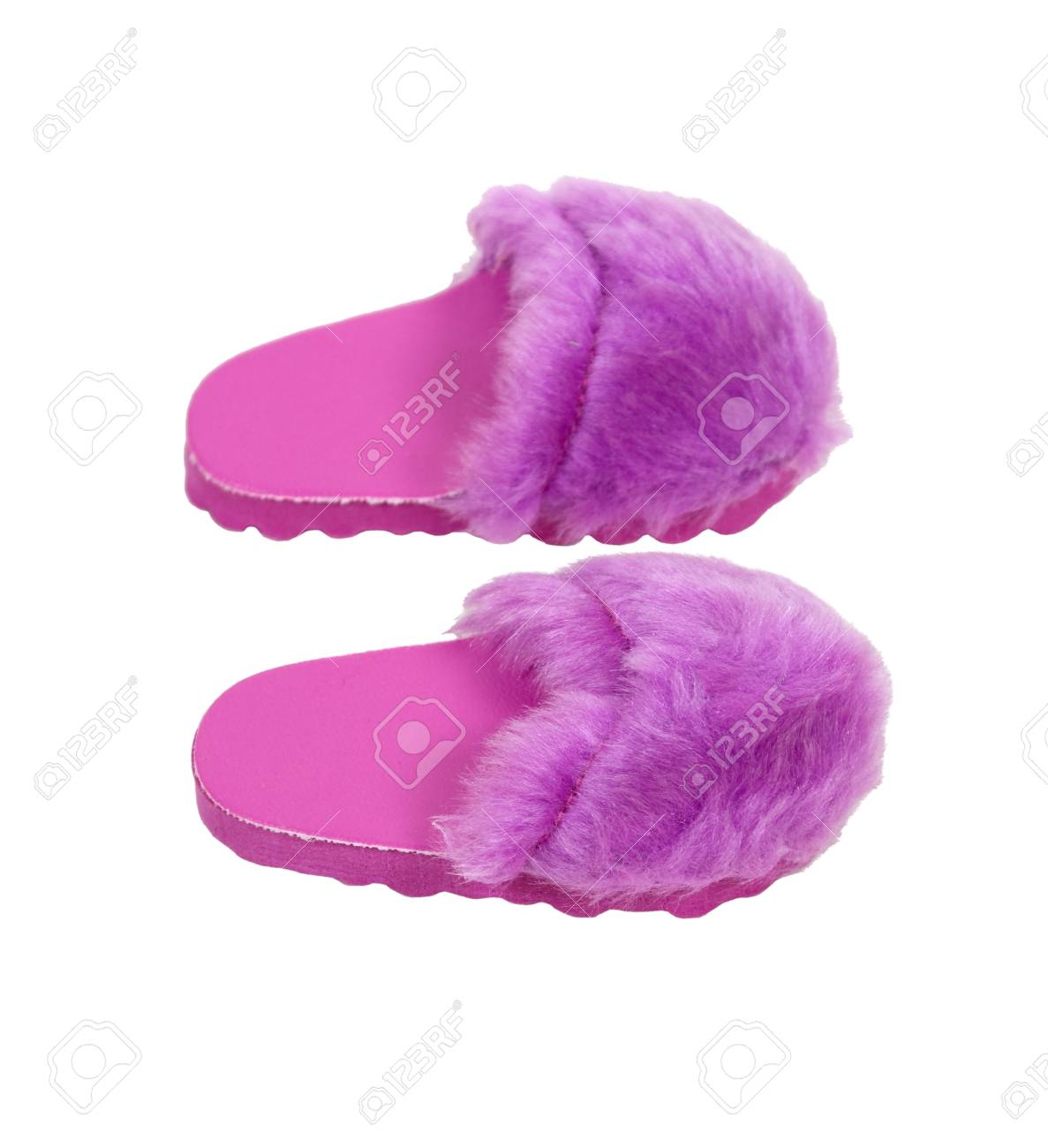 950ba0fc4e8 Fuzzy pink slippers to wear at home when relaxing in luxury Stock Photo -  7314214