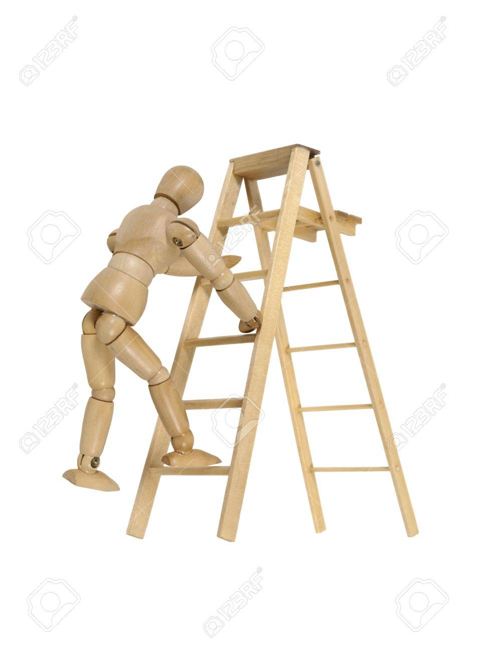climbing a ladder used for moving up or reaching higher goals stock photo 7764996