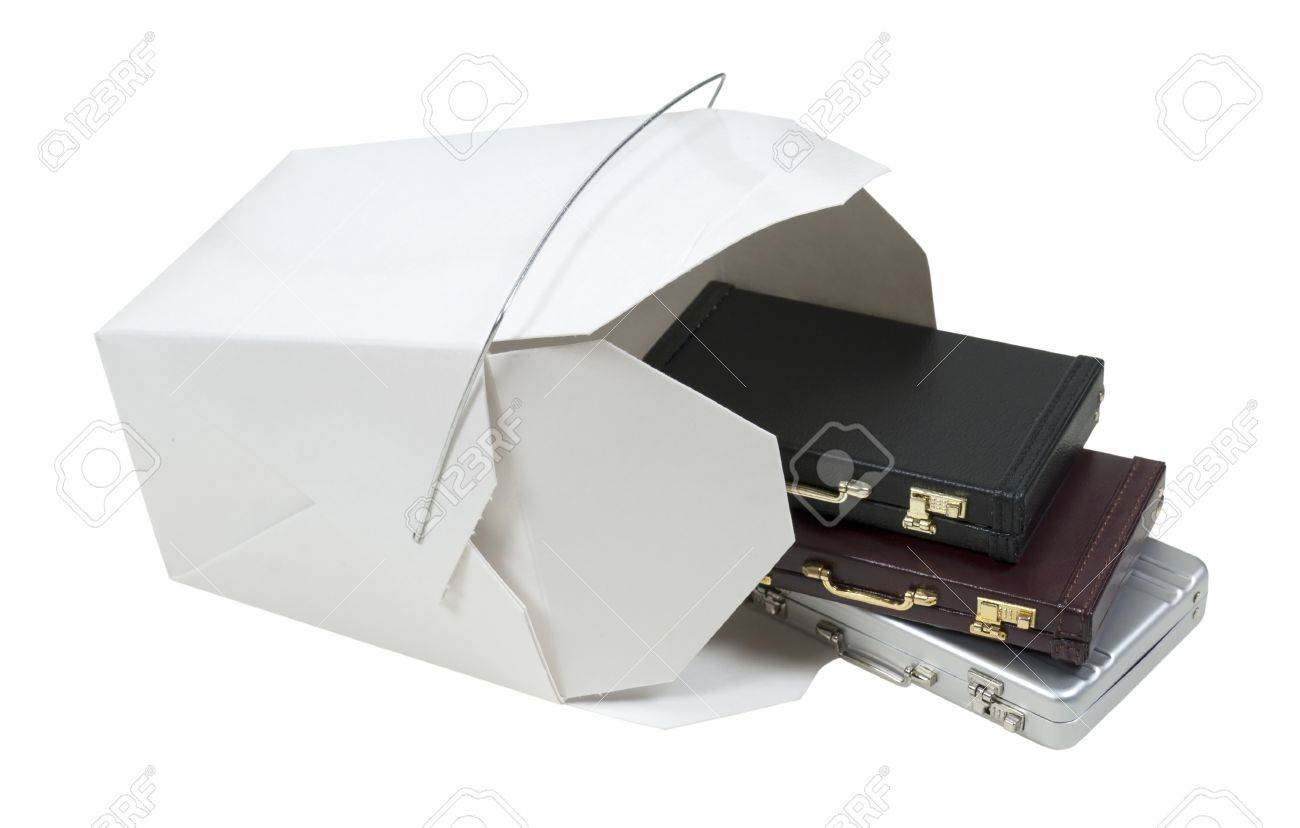 Business on the go shown by a take out box filled with briefcases Stock Photo - 8764530