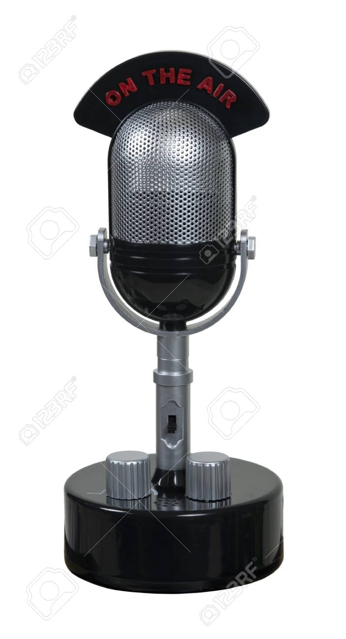Retro pill audio microphone used to amplify communication with an on the air banner - path included Stock Photo - 9714776