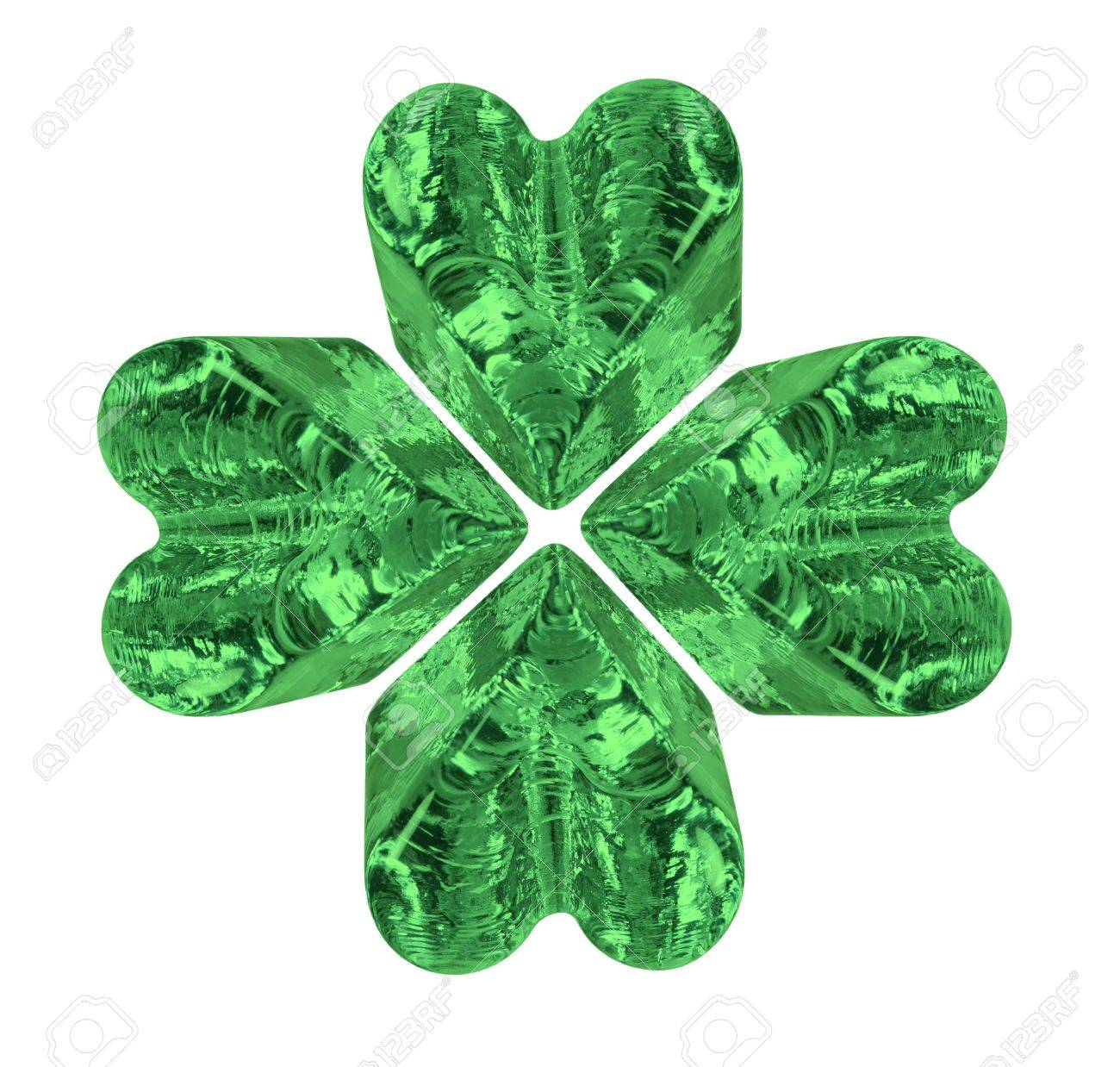 Green four leaf crystal clover symbolizing luck and posterity - path included Stock Photo - 9714865