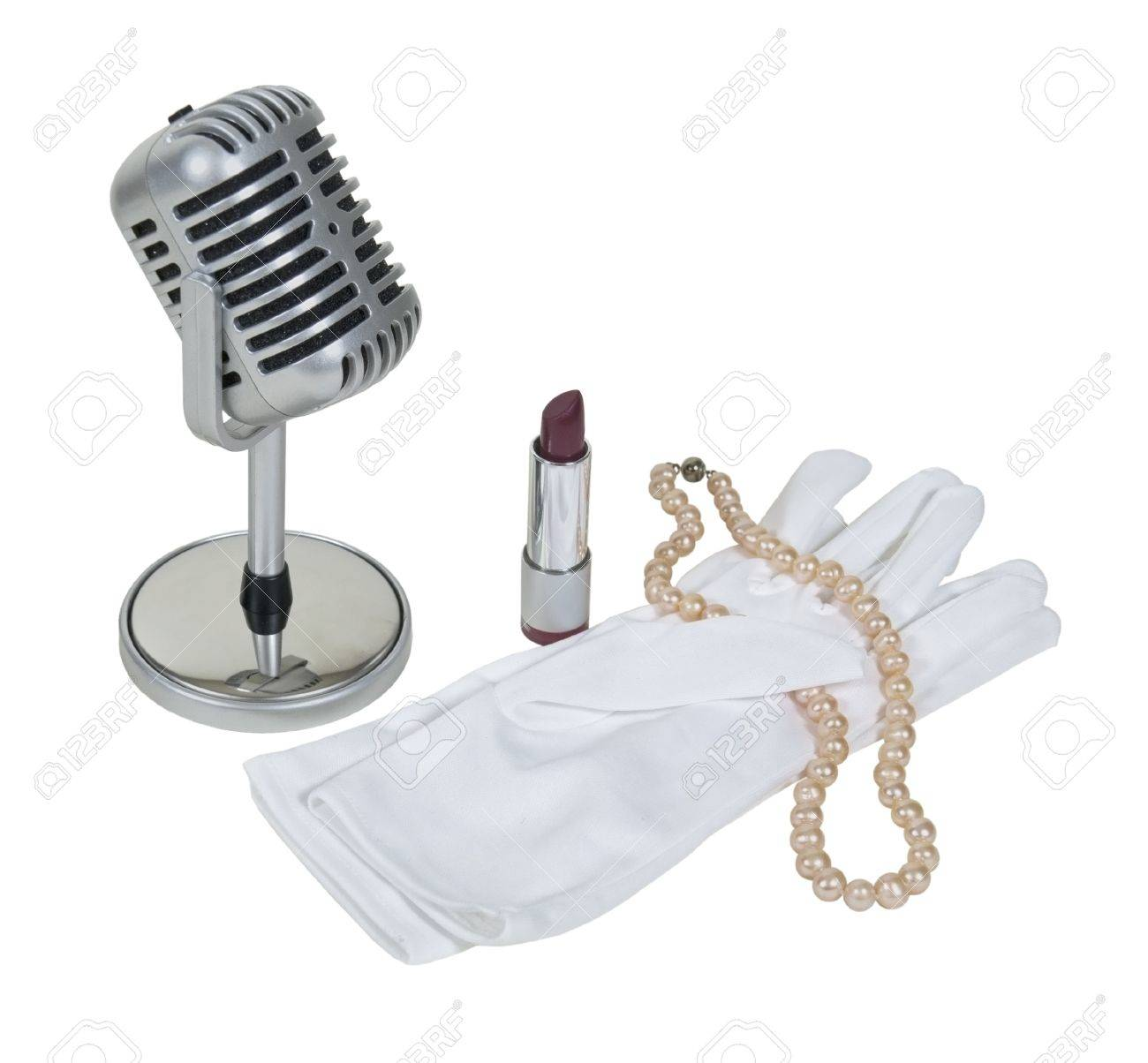 Retro pill audio microphone with white gloves, pearls and lipstick - path included Stock Photo - 10541813
