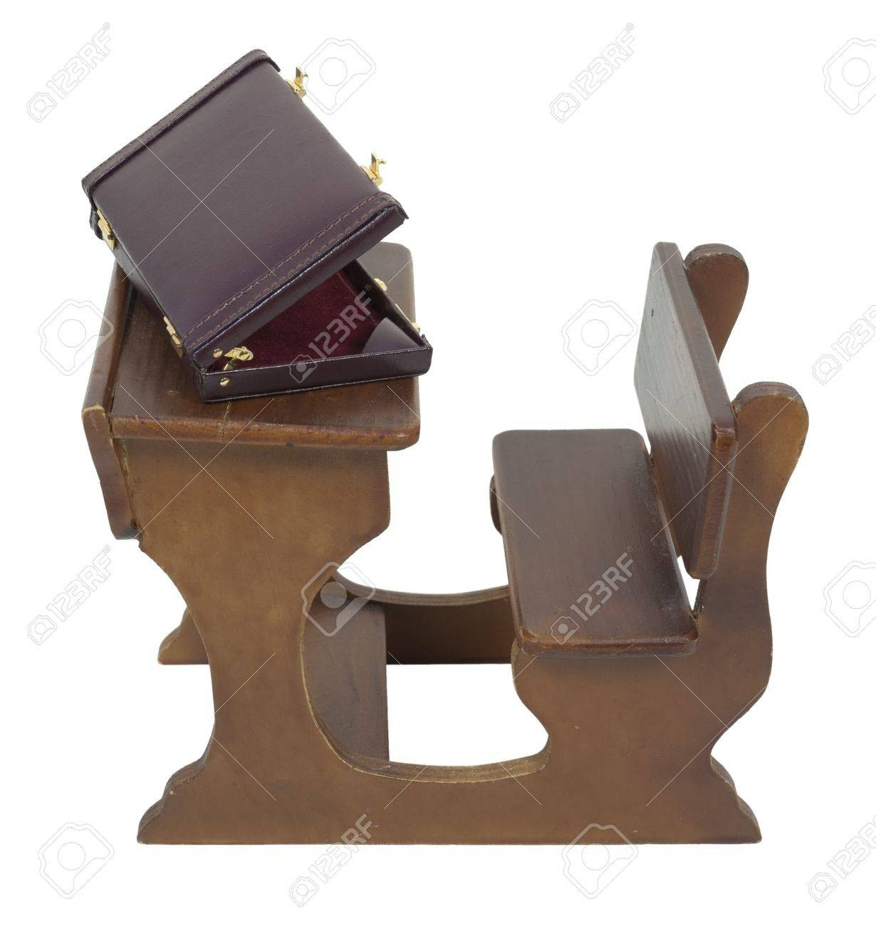 Briefcase On Retro Wooden Student Desk Stock Photo Picture And