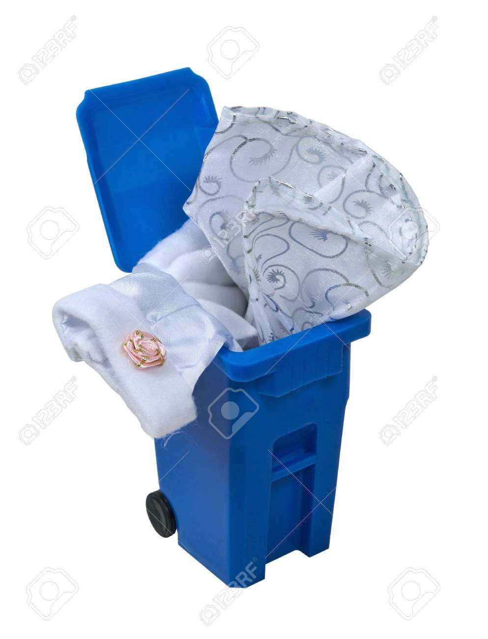 A fancy formal white dress with flowers and lace in a blue recycling a fancy formal white dress with flowers and lace in a blue recycling bin stock photo izmirmasajfo