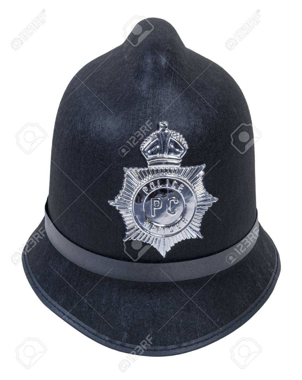 black english bobby policeman hat with badge path included stock