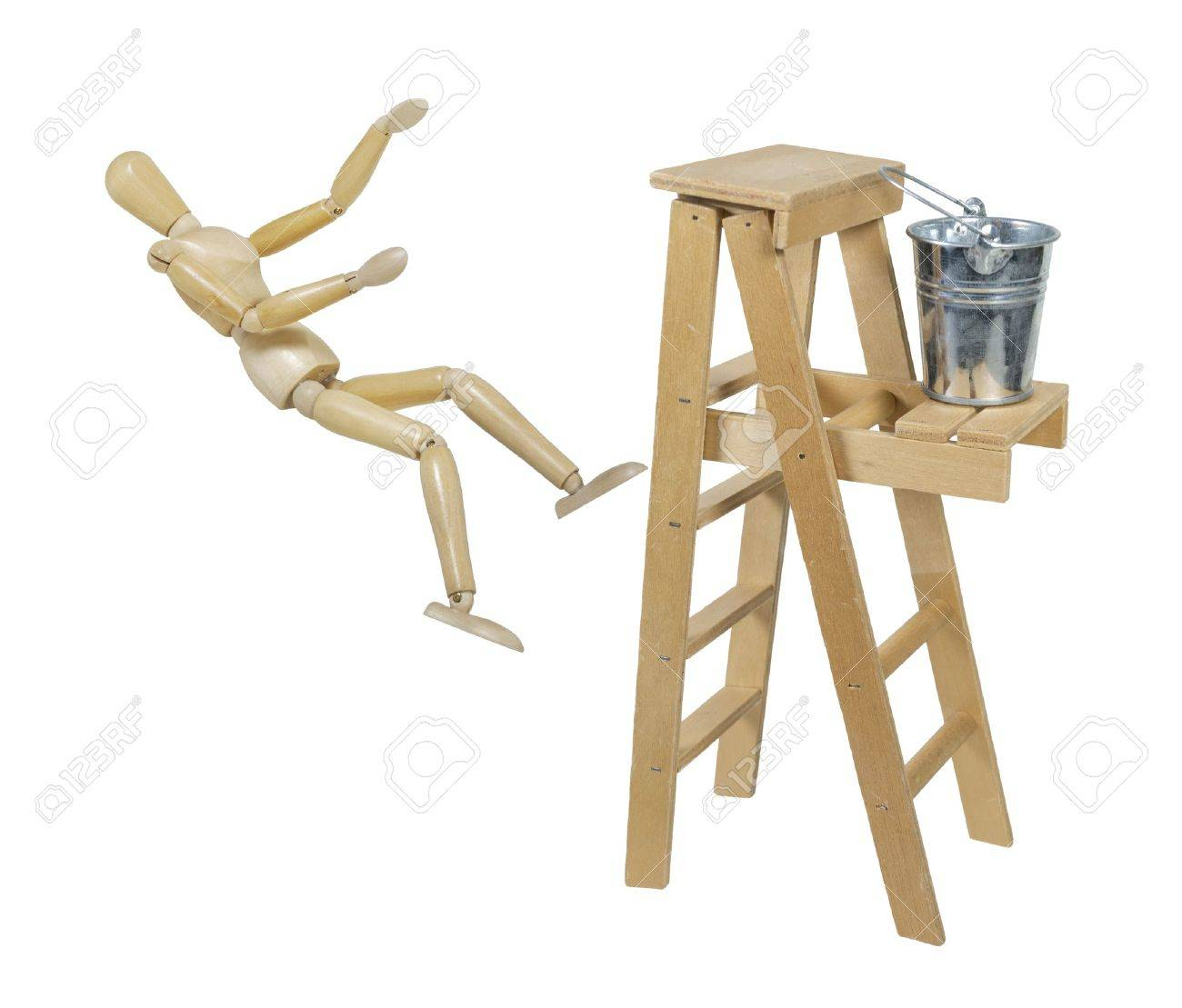 falling off a ladder used for moving up or reaching higher goals falling off a ladder used for moving up or reaching higher goals stock photo 15544578