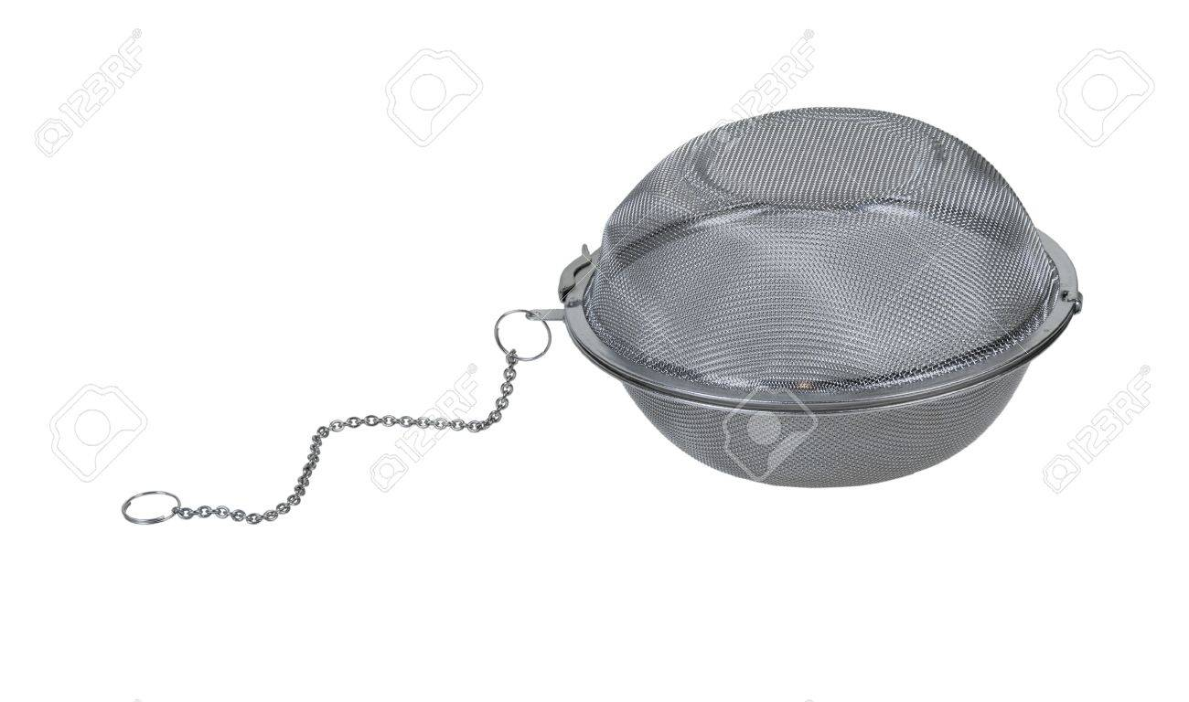 Metal tea infuser used to hold lose tea leaves when making tea - path included Stock