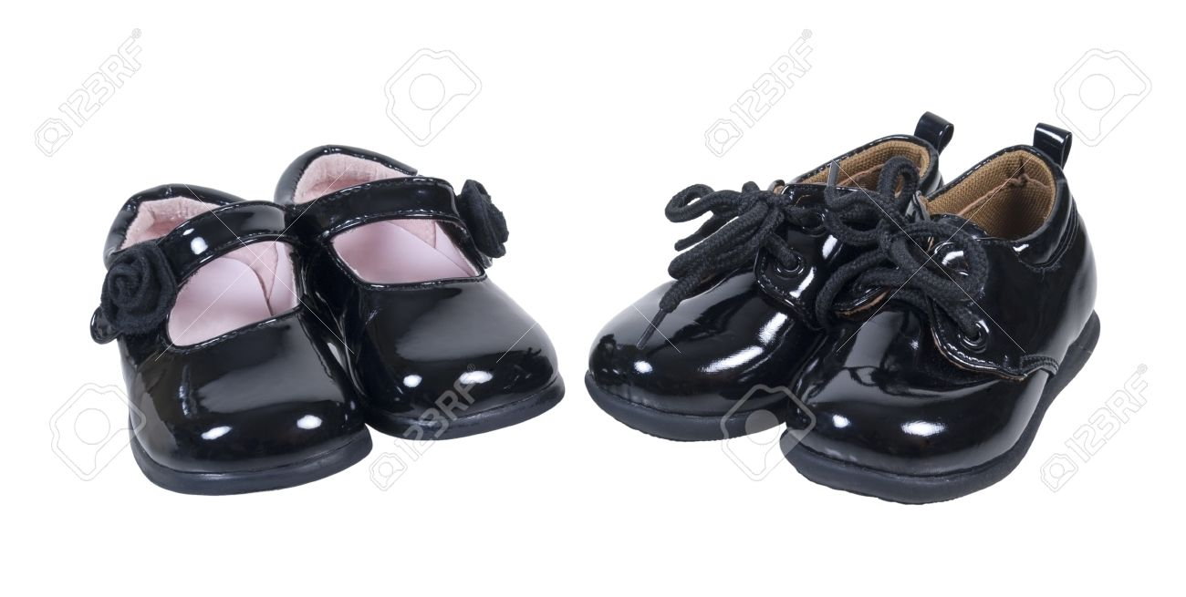 Shiny Black Leather Formal Baby Shoes For Boys And Girls On ...