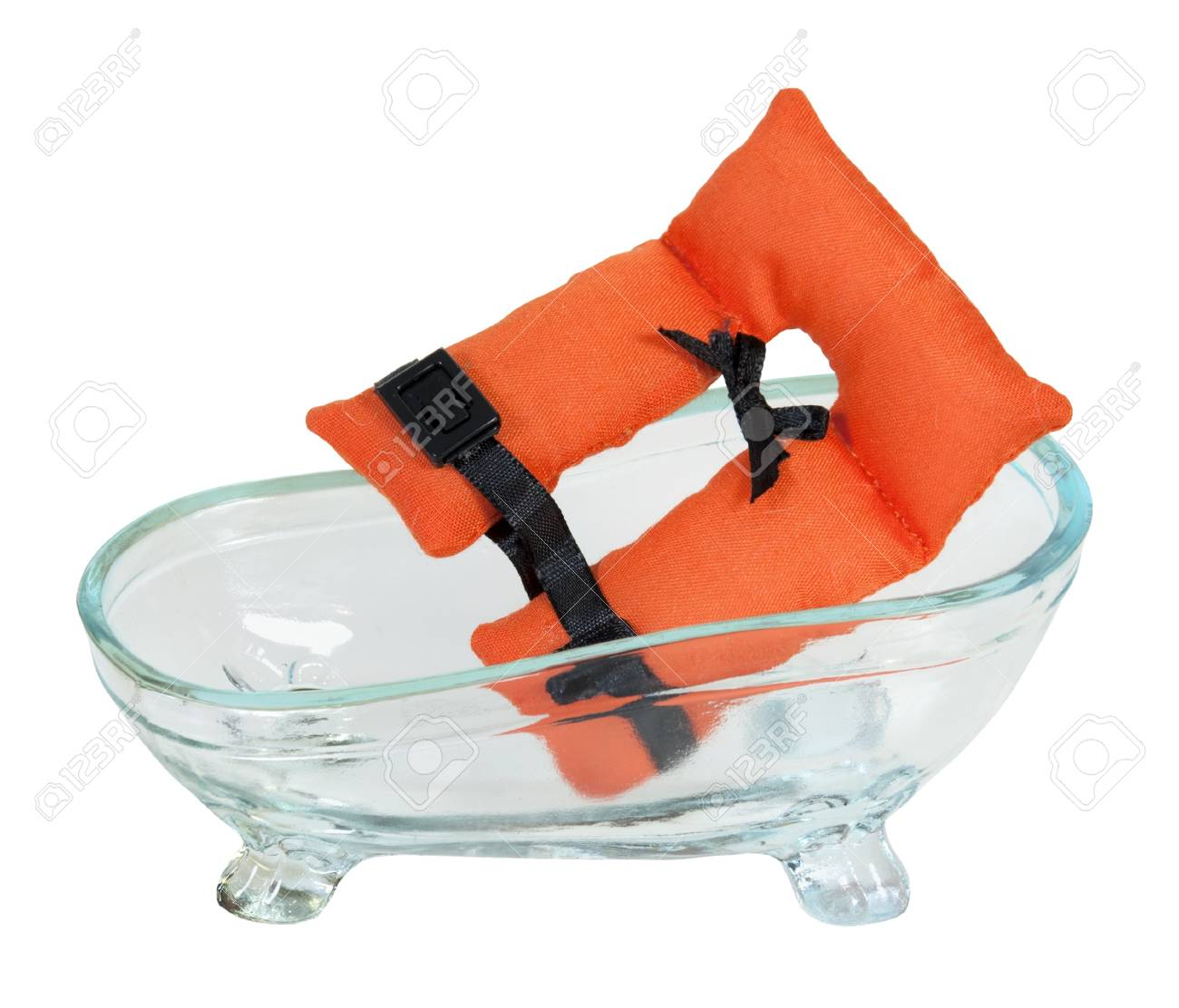 Life Vest With Security Belts In A Bathtub For Nautical Safety ...