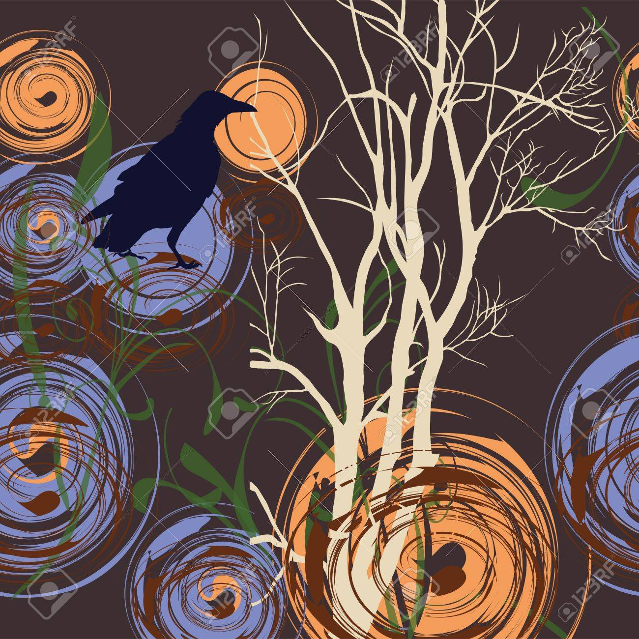Abstract background with tree and crow, illustration Stock Vector - 12048046