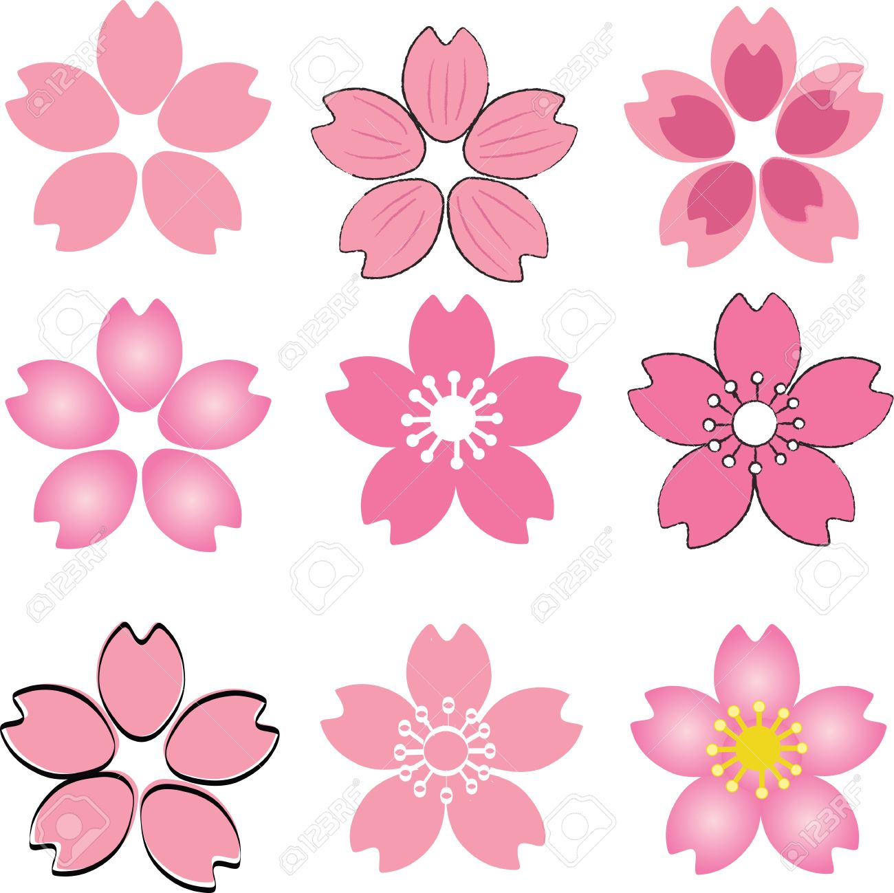 Pink cherry blossom flower set vector with many style include pink cherry blossom flower set vector with many style include drawing style and shade stok fotoraf mightylinksfo