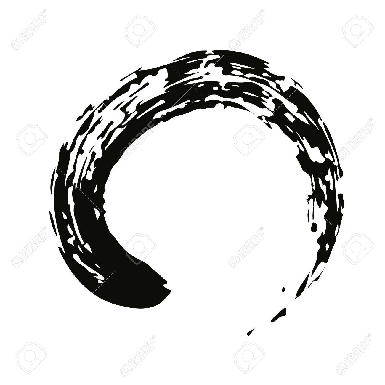 Pinceau Chinois Noir Dessiner Le Symbole De Zen Chinois Et