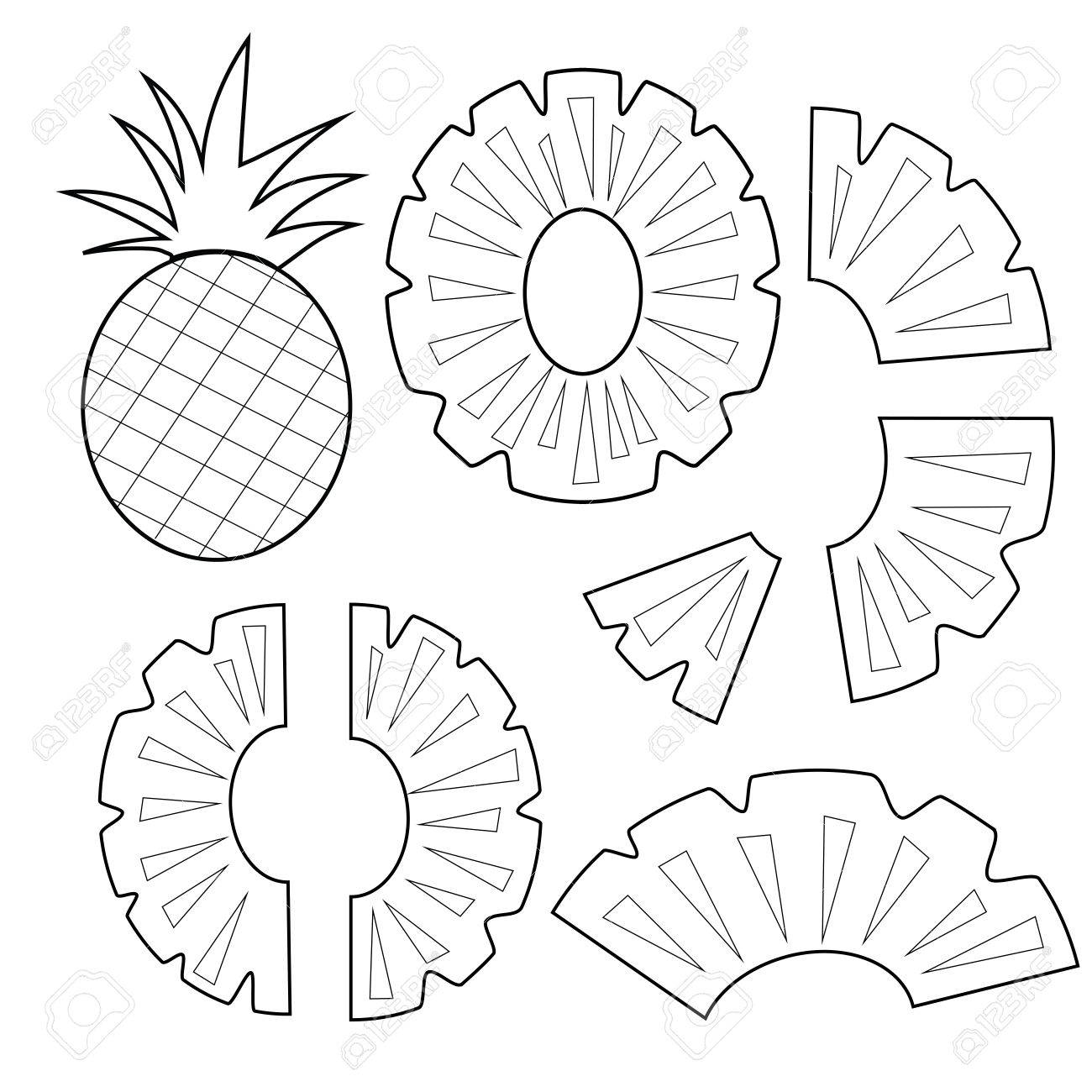Ananas-Frucht Umriss Version Für Malbuch Vektor-Illustration ...