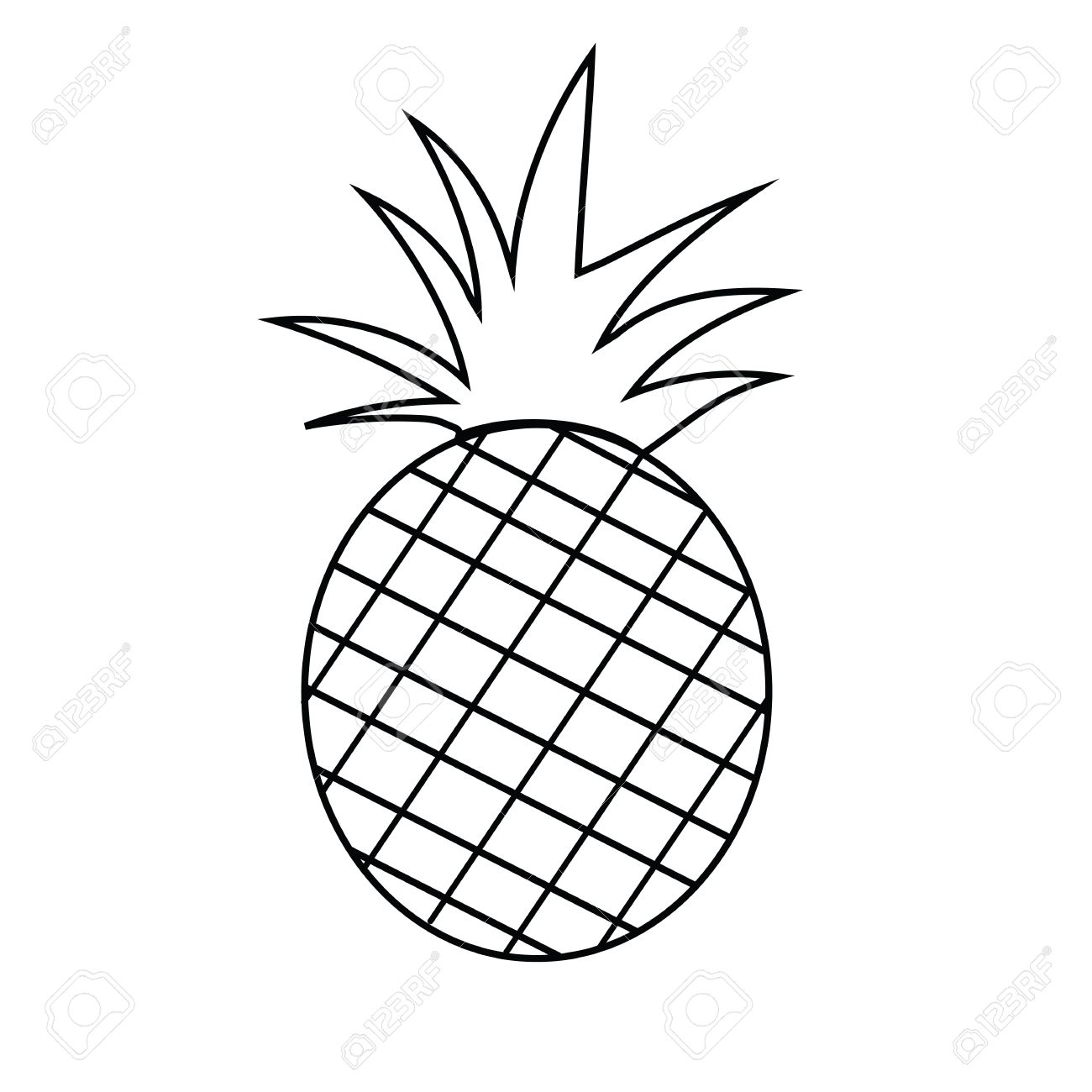 Pineapple Fruit Outline Version For Coloring Book Vector ... for Clipart Pineapple Black And White  45gtk